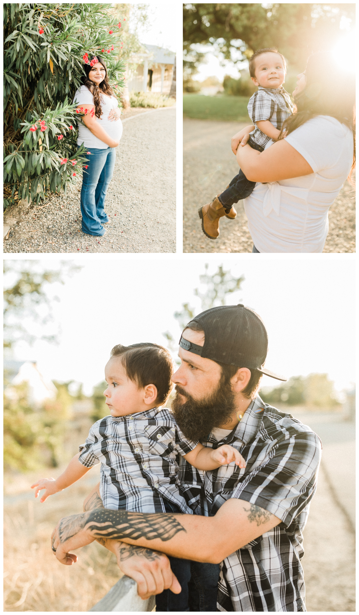 collage of images from Fresno maternity photos. pregnant woman wearing white top and jeans. Tattooed husband wearing black flannel.