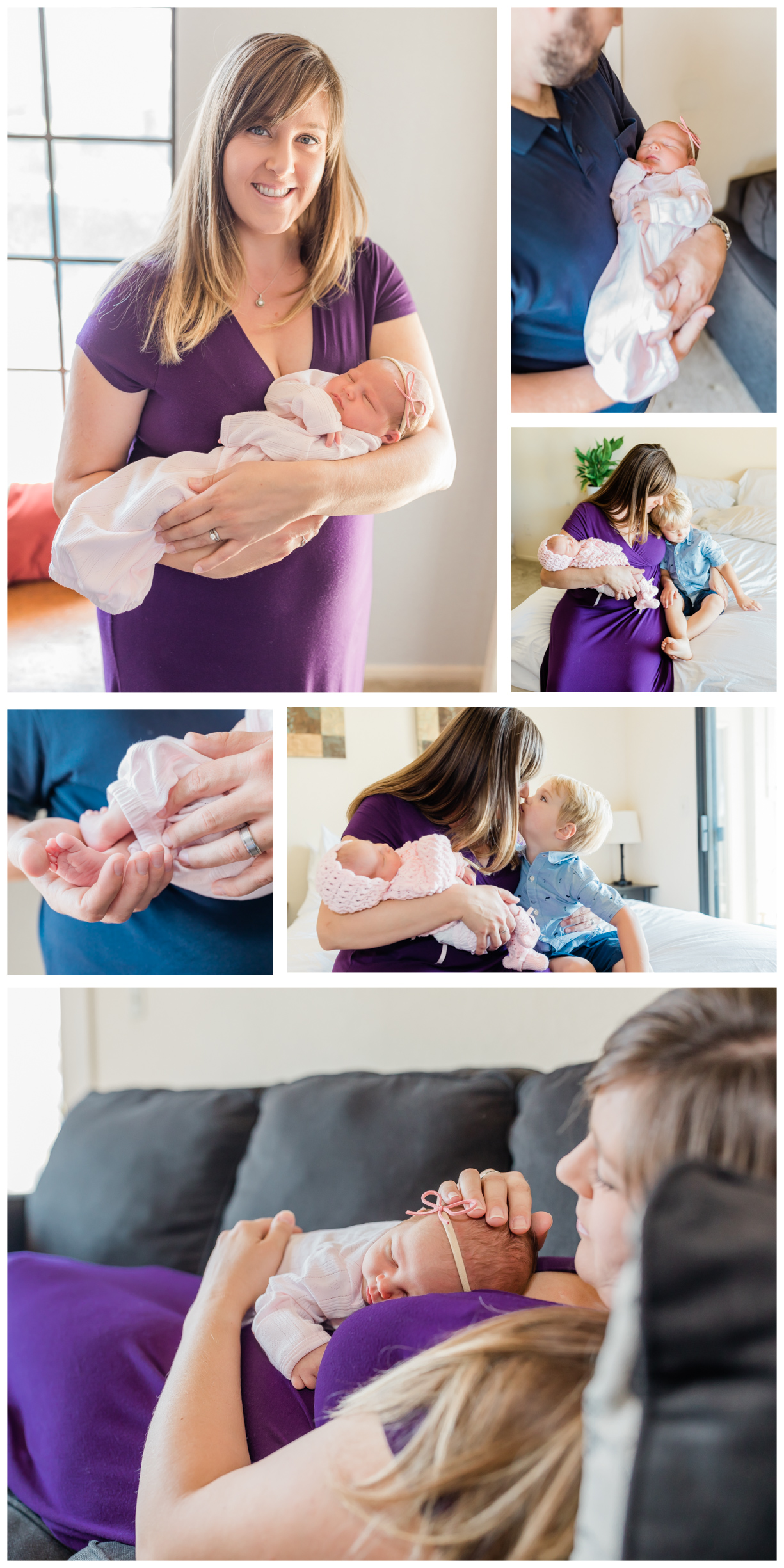 collage of photos from an in home newborn lifestyle session. Mom is wearing a purple dress, baby is dressed in pink and brother is in blue