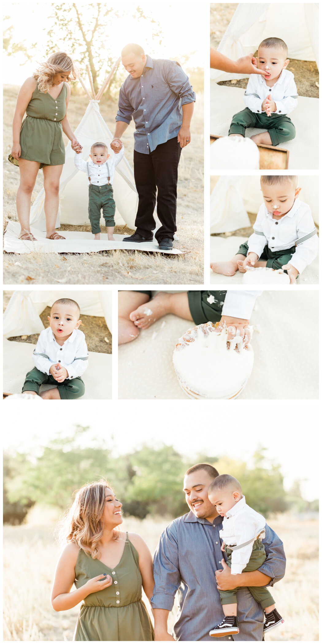 Collage of photos from one year old boy cake smash photo session.