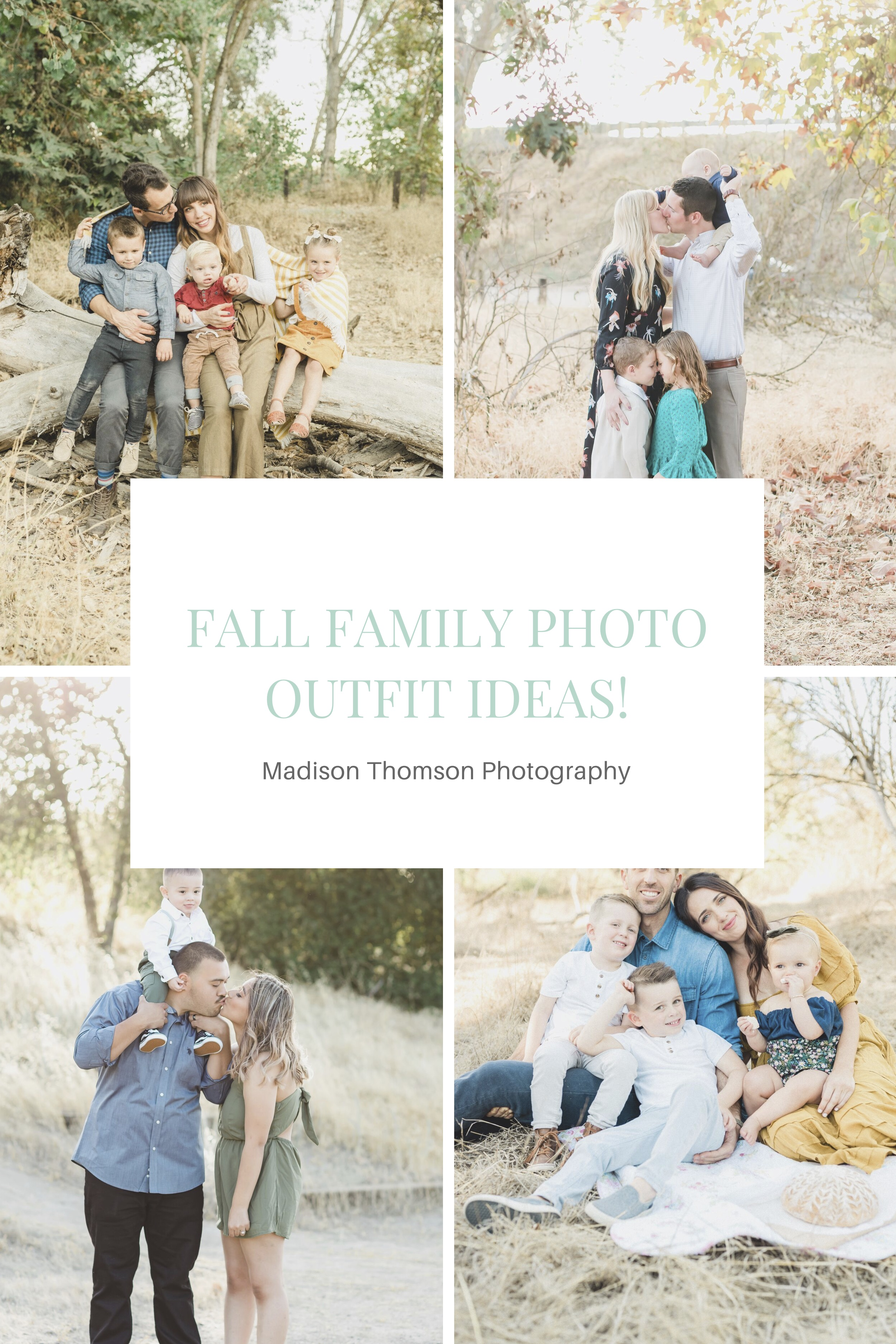 collage and graphic of fall family photos