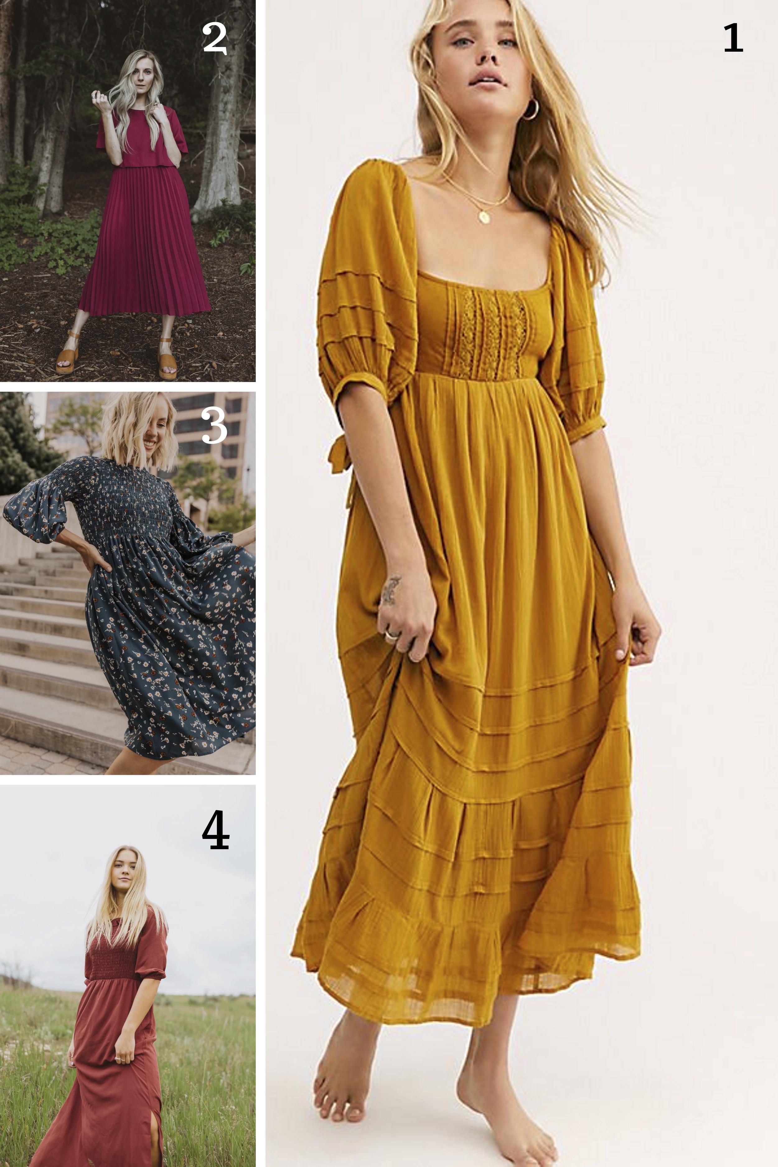 1.  Yellow Free People Dress  || 2.  Burgundy Bib Dress  || 3.  Blue Smocked Dress  || 4.  Ruffle Maxi dress