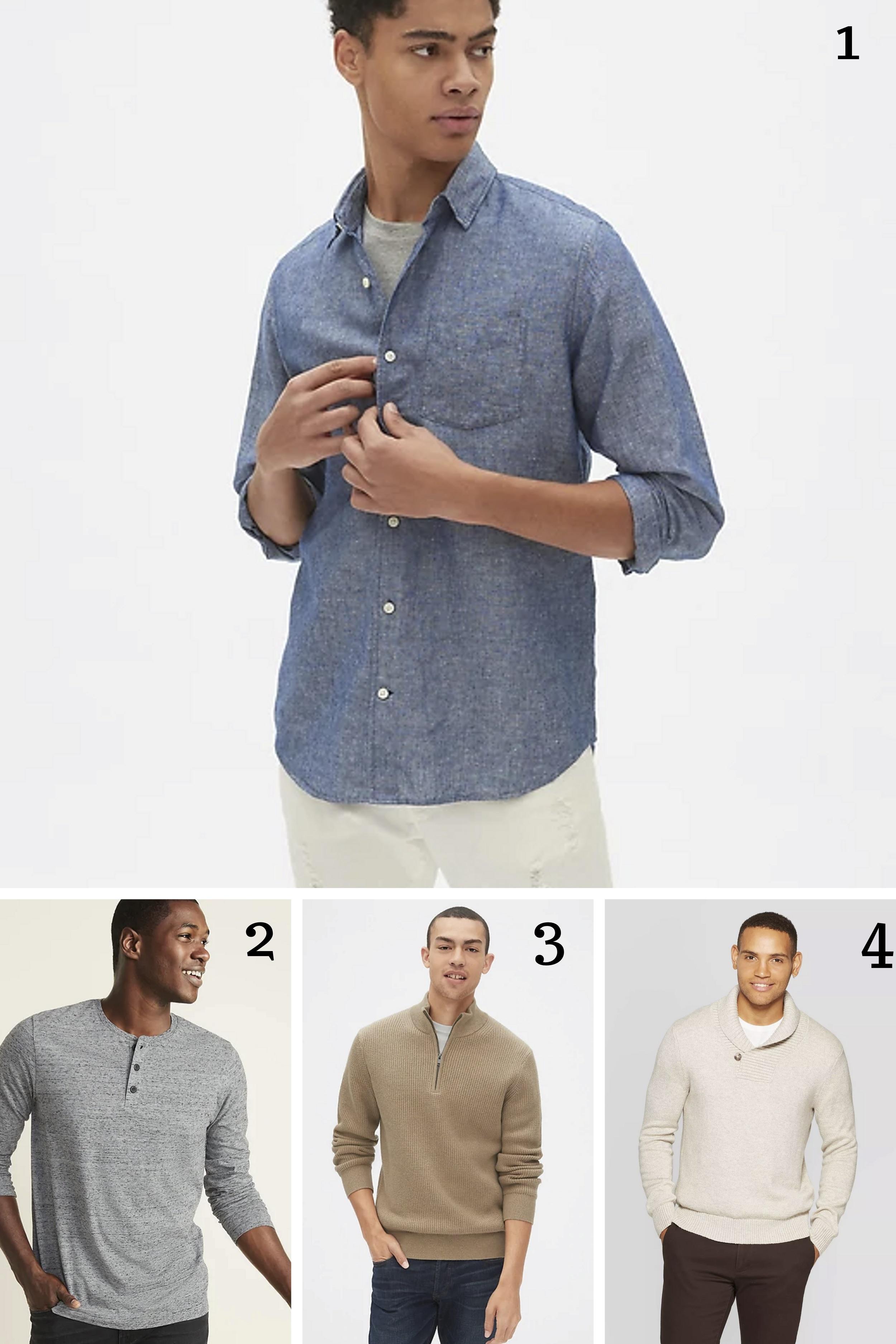 1.  Linen cotton shirt  || 2.  Henley Shirt  || 3.  Quarter Zip sweater  || 4.  Mock collar sweater