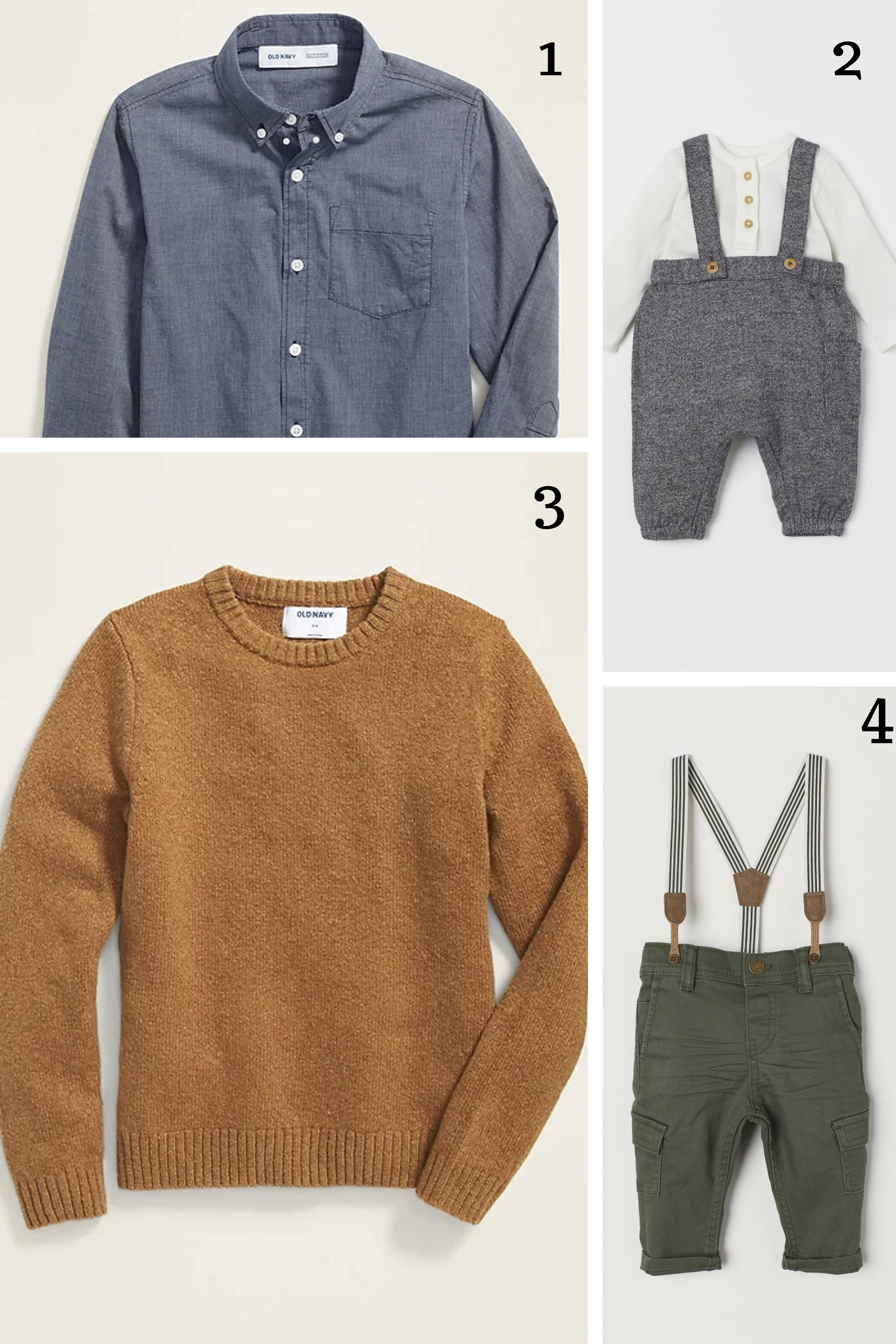 1.  Chambray button up  || 2.  Shirt and overalls  || 3.  Crew neck sweater  || 4.  Twill pants with suspenders