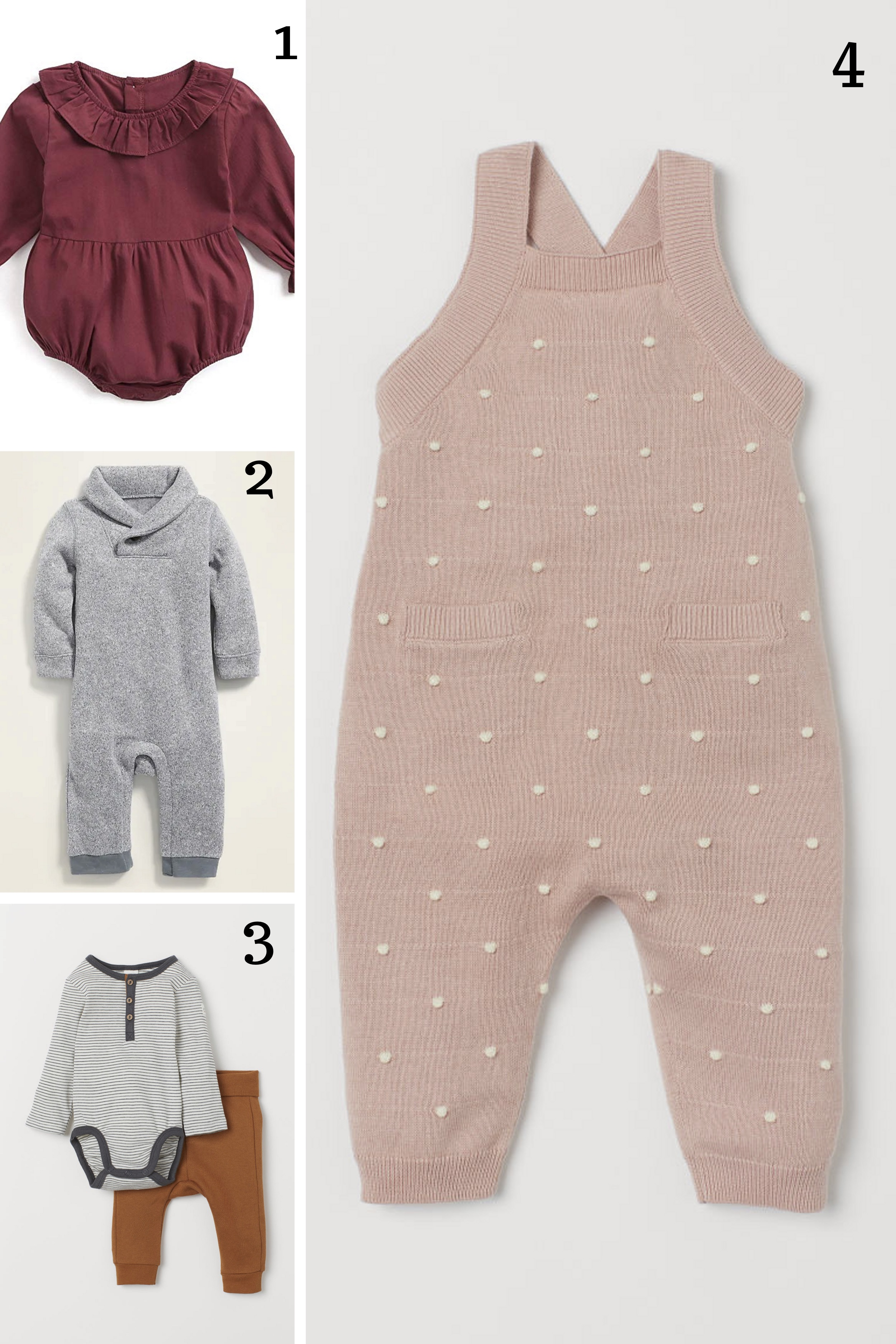 1.  Ruffle romper  || 2.  Shawl collar one piece  || 3.  Body suit and pants  || 4.  Knit overalls