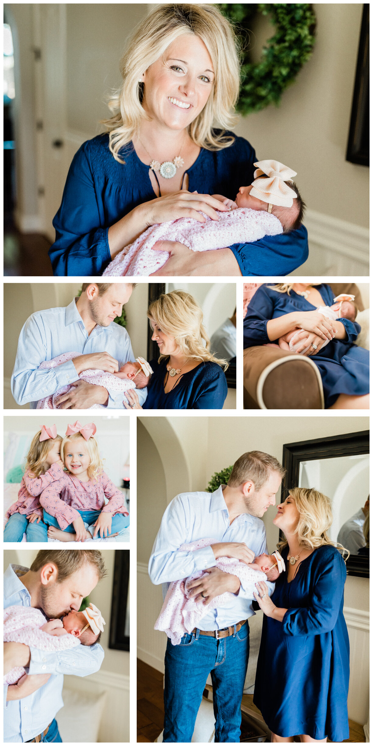 collage of newborn photos, clients are in home, baby is snuggled in a pink hand made blanket