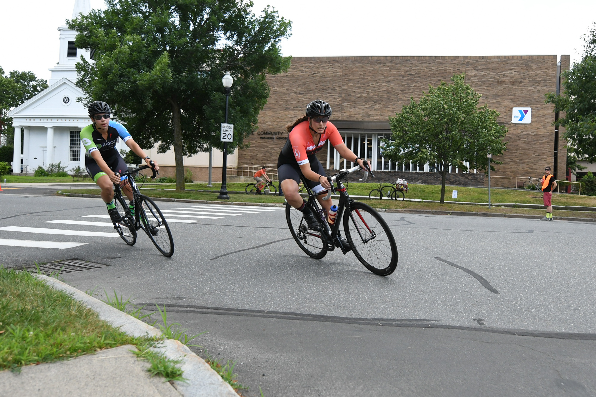 Green Line Velo's Katie Mills took the win after a strong showing all race