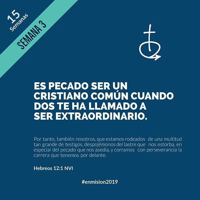 """Es pecado ser un cristiano común cuando Dios te ha llamado a ser extraordinario. @livpalm 💪💪💪 ___ """"Por tanto, también nosotros, que estamos rodeados de una multitud tan grande de testigos, despojémonos del lastre que nos estorba, en especial del pecado que nos asedia, y corramos con perseverancia la carrera que tenemos por delante."""" Hebreos 12:1 ___ ORACIÓN Señor, ayúdame a mantener mi mirada en ti, a enfocarme en tus propósitos para mi vida, en no desmayar cuando me sienta cansado, y no quedarme en el suelo cuando tropiece. Quiero ser todo lo que quieres que yo sea para que Cristo sea glorificado a través de mi vida. En Cristo Jesús, Amén ___ #enmision2019  @iglesiaenmision"""
