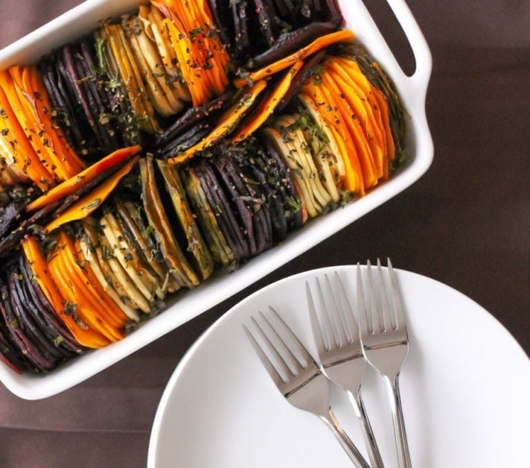 Rainbow Root Vegetables - In season root vegetables sliced thin and baked with fresh herbs