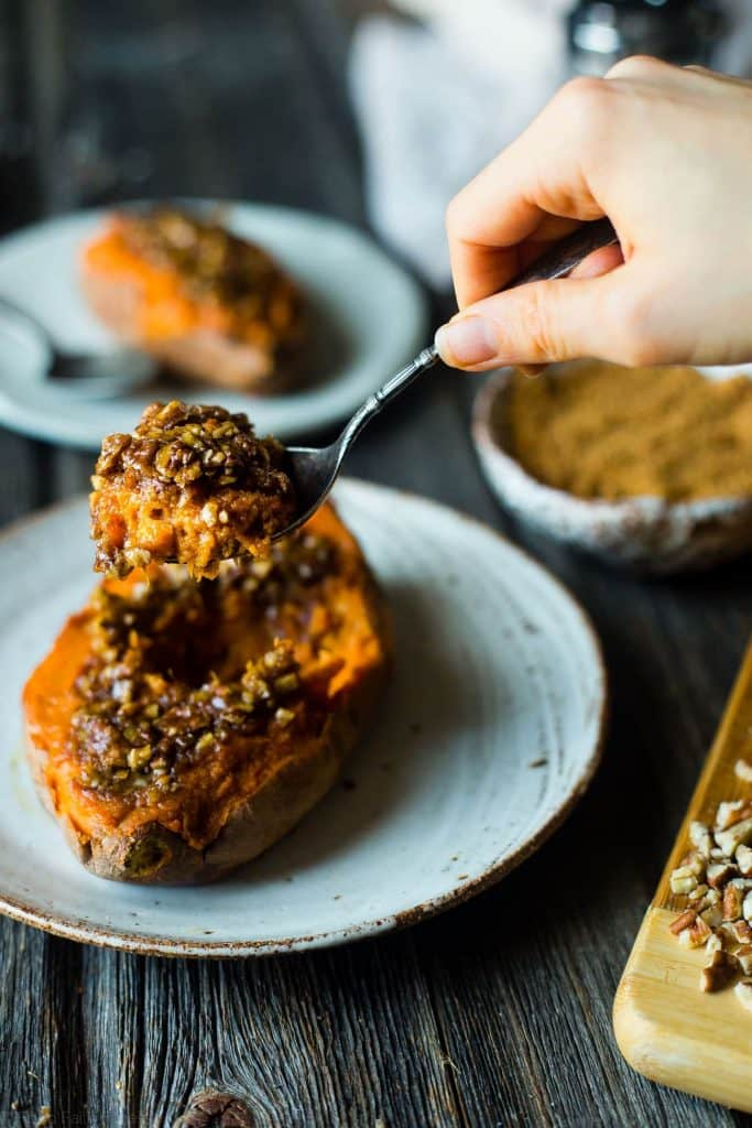 Pecan Pie Twice Baked Sweet Potato - This vegan side dish will give you an excuse to have second dessert