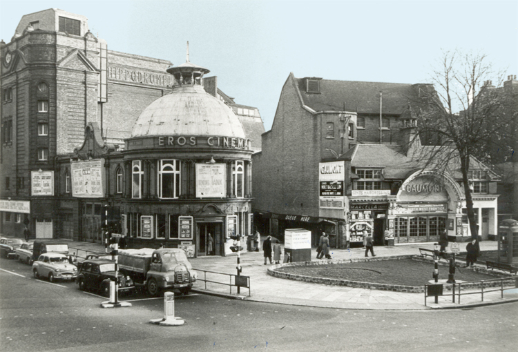 Eros and Gaumont cinemas - now Eros House, late 1950s (photo:    http://www.ideal-homes.org.uk/   )