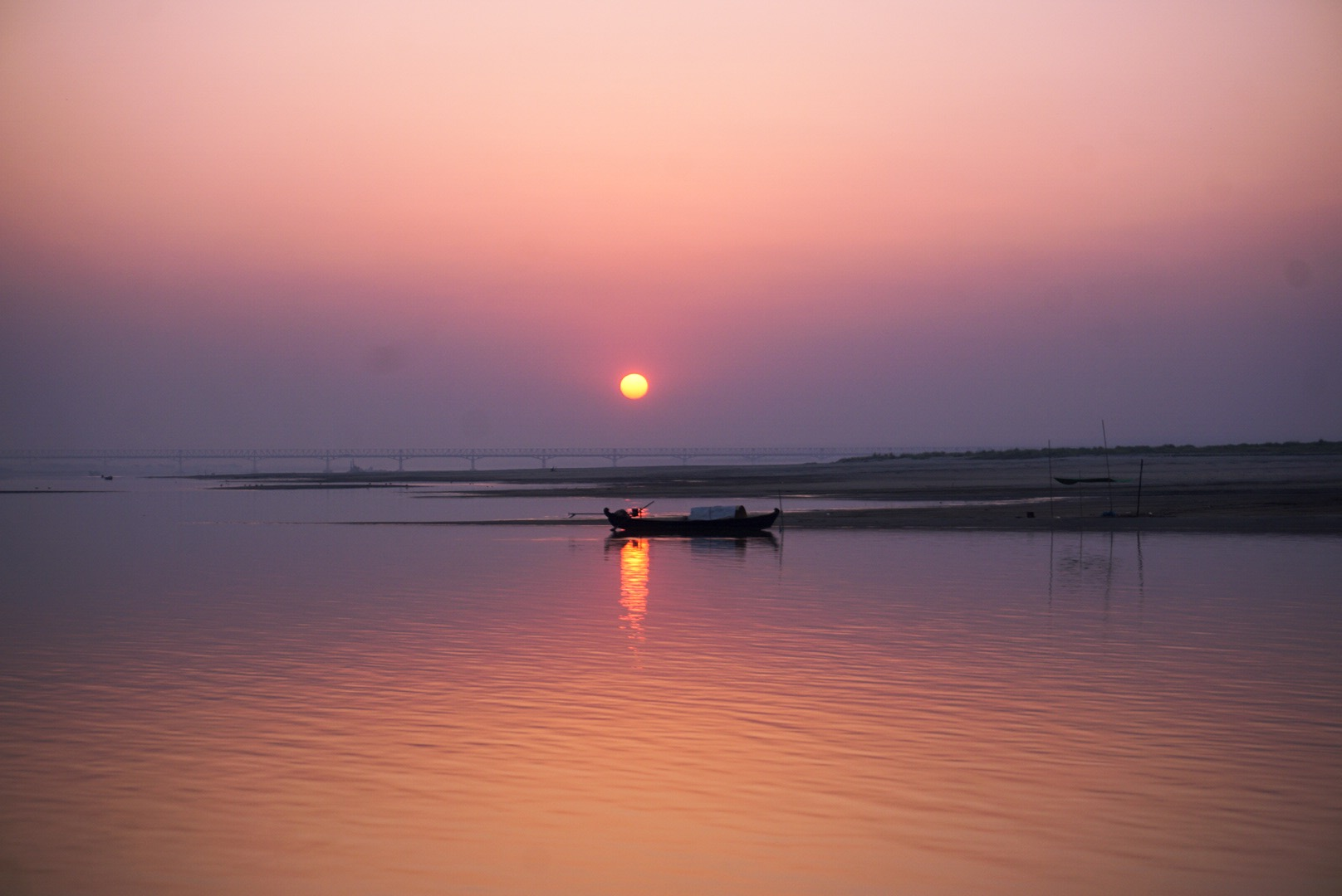 Sunrise on the Irrawaddy river.