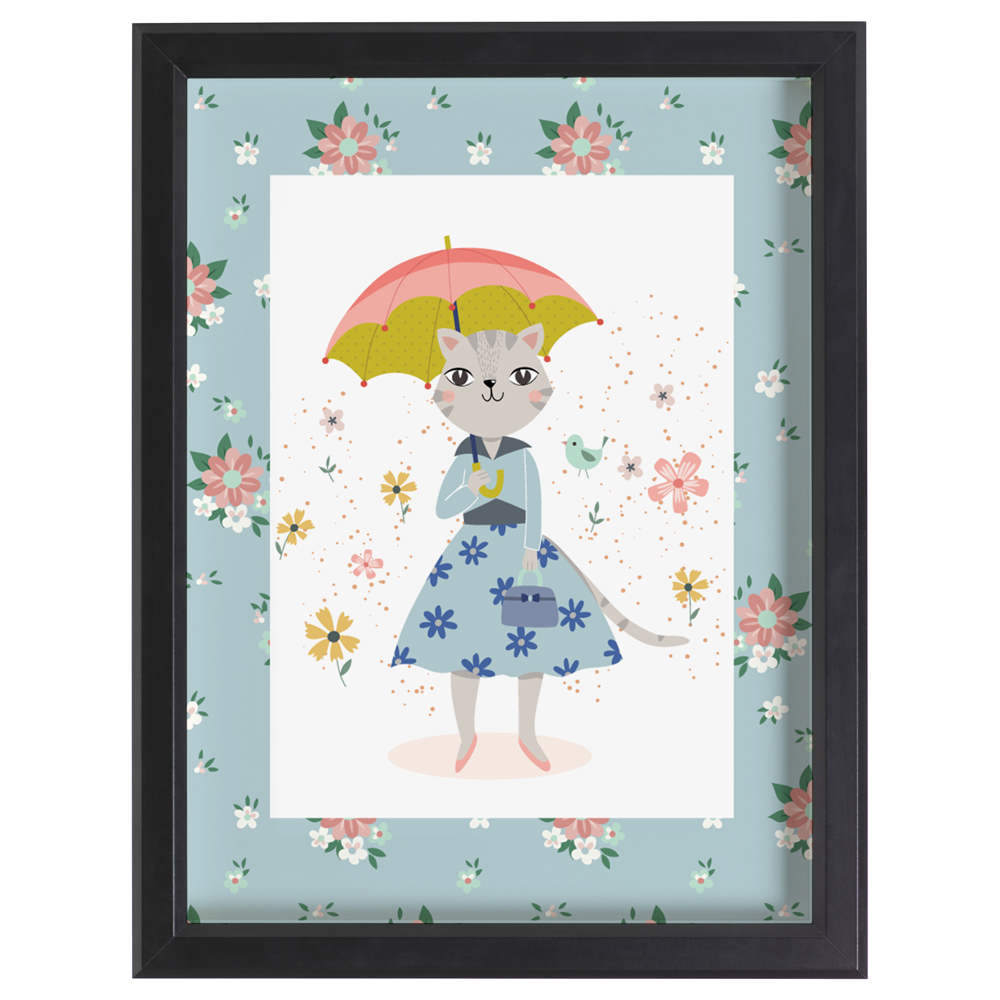 Lady cat with umbrella