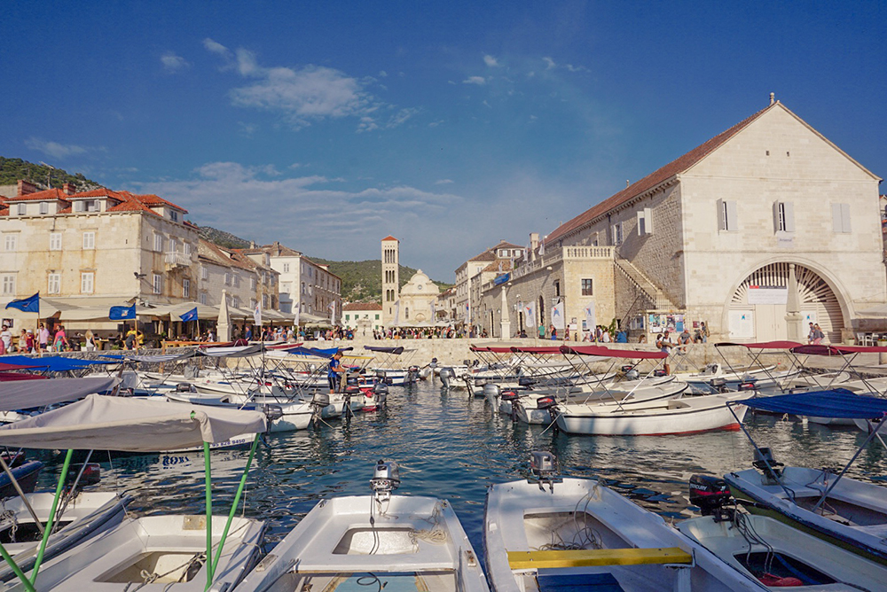 View of the old port and main square in Hvar