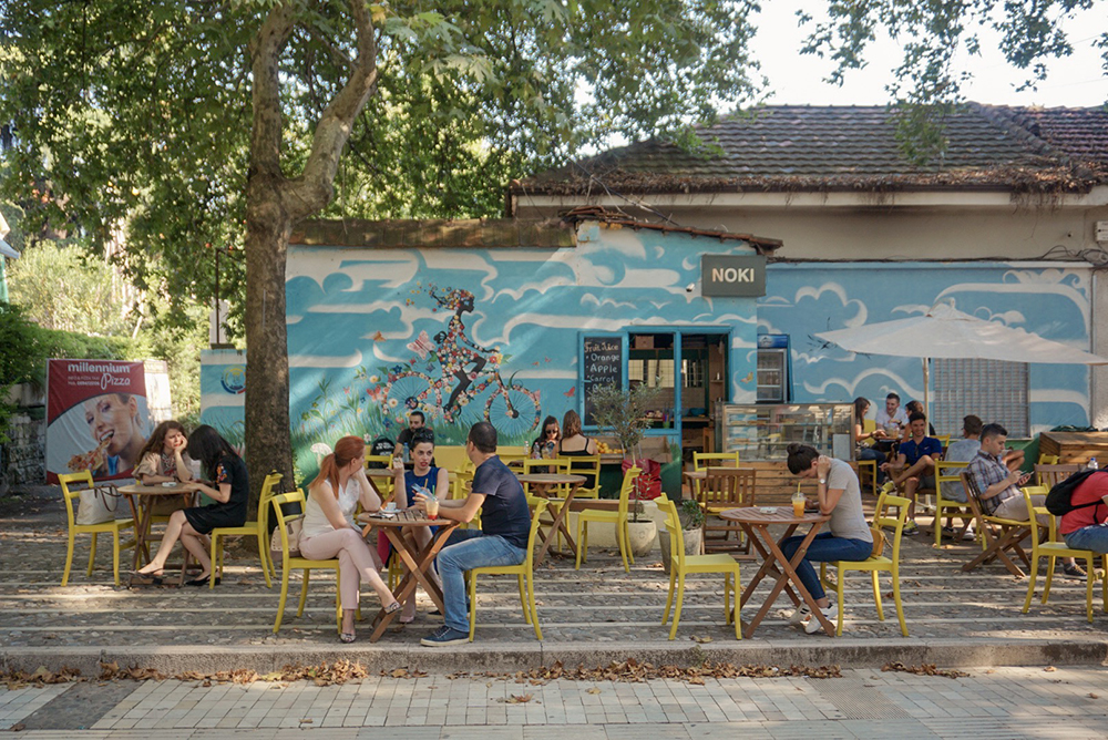 Outdoor cafe in Tirana