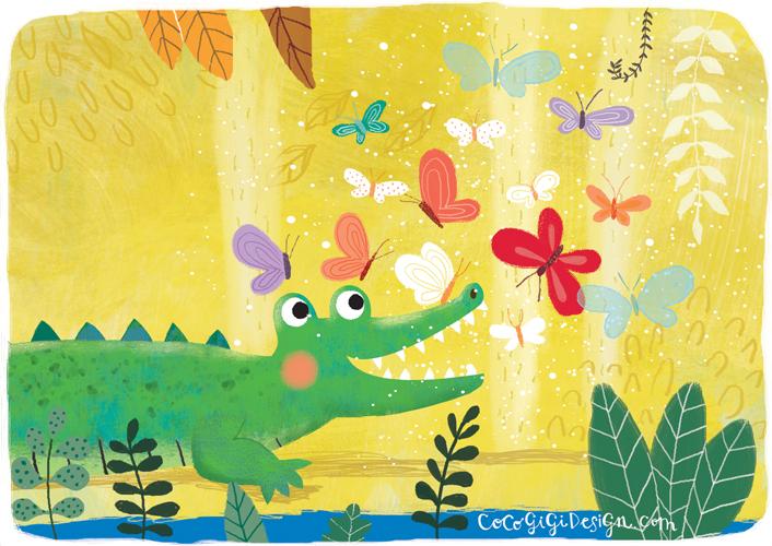 Gina Maldonado - Crocodile and butterflies.jpg