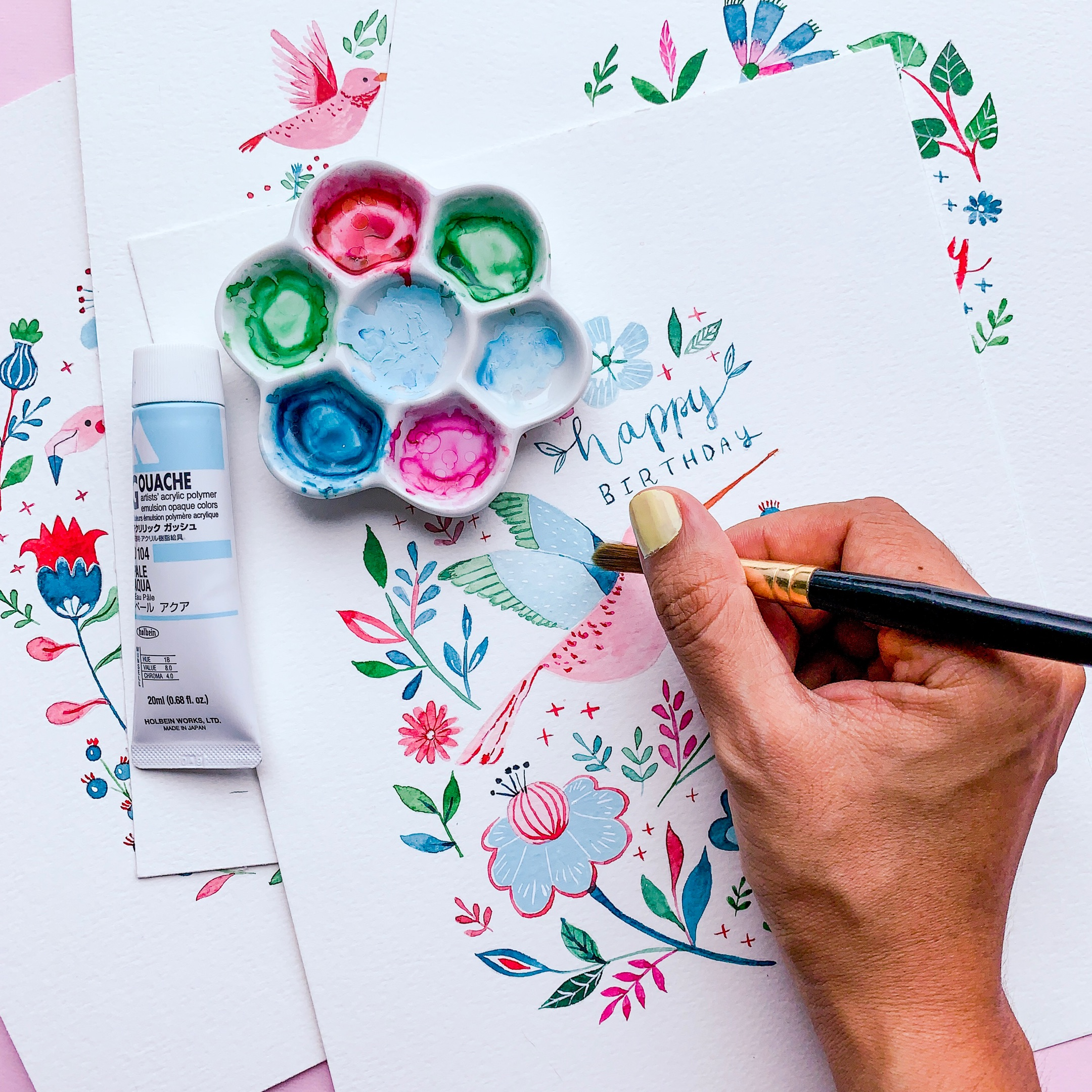 Behind the scenes: Painting greeting cards - Gina Maldonado2.jpg