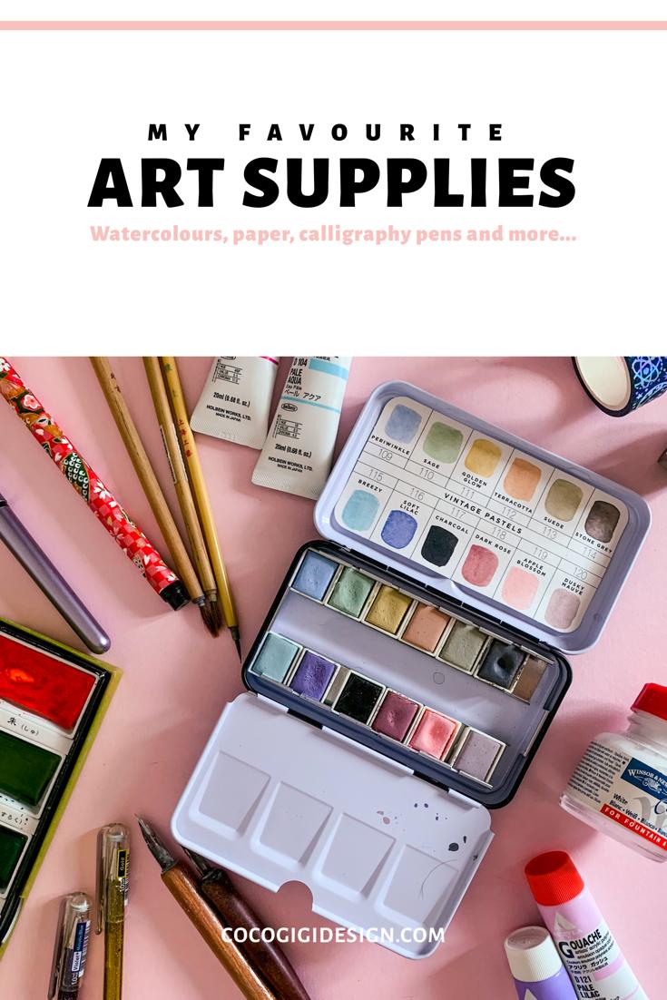My favourite art supplies - Gina Maldonado - Coco Gigi Design - Illustration - Art Licensing - Pinterest.png