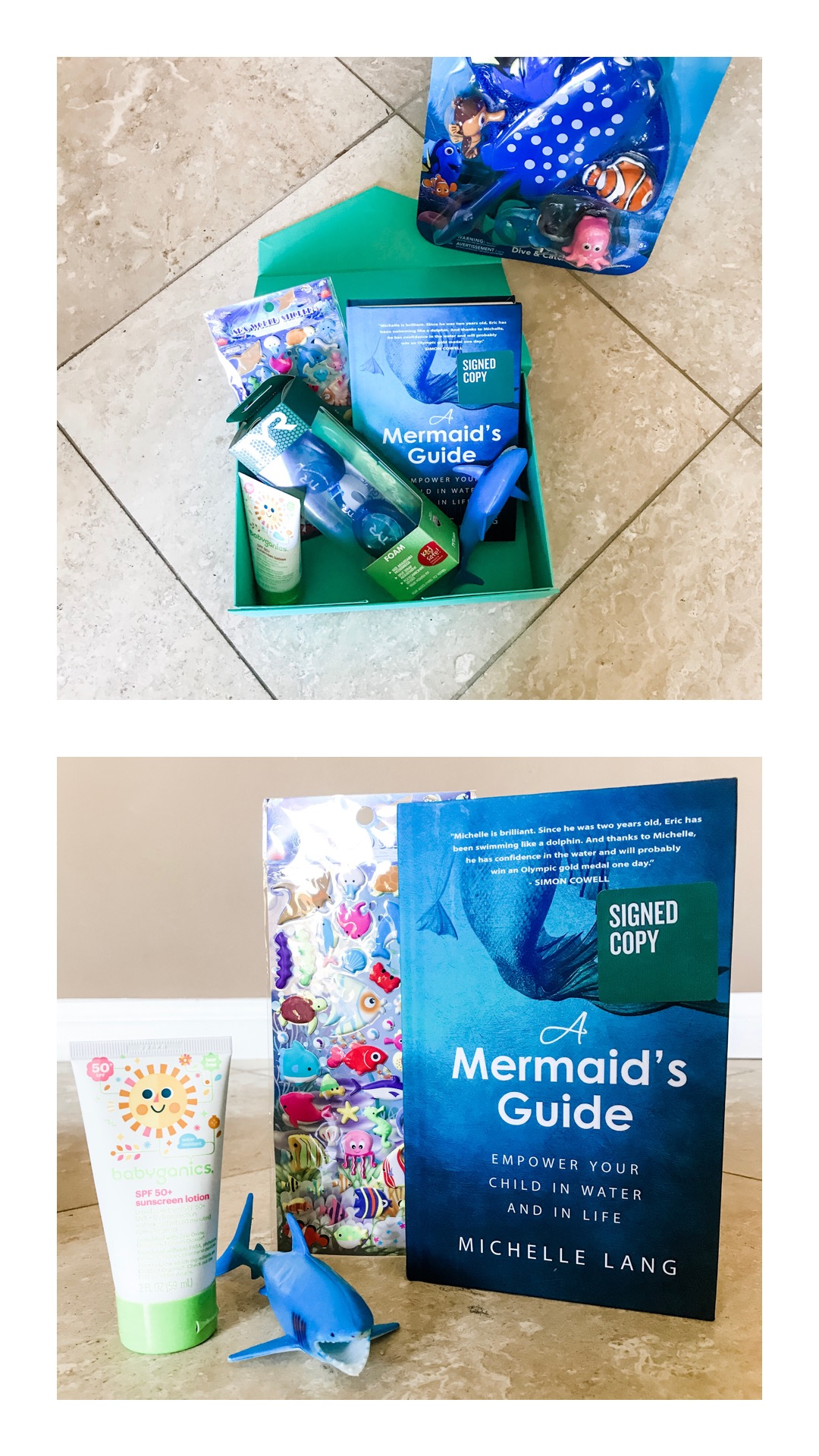 "Pair A MERMAID'S GUIDE with ""Mr. Sharky,"" Sunscreen, Stickers, and other fun items! It makes a great baby shower, birthday or holiday gift!"