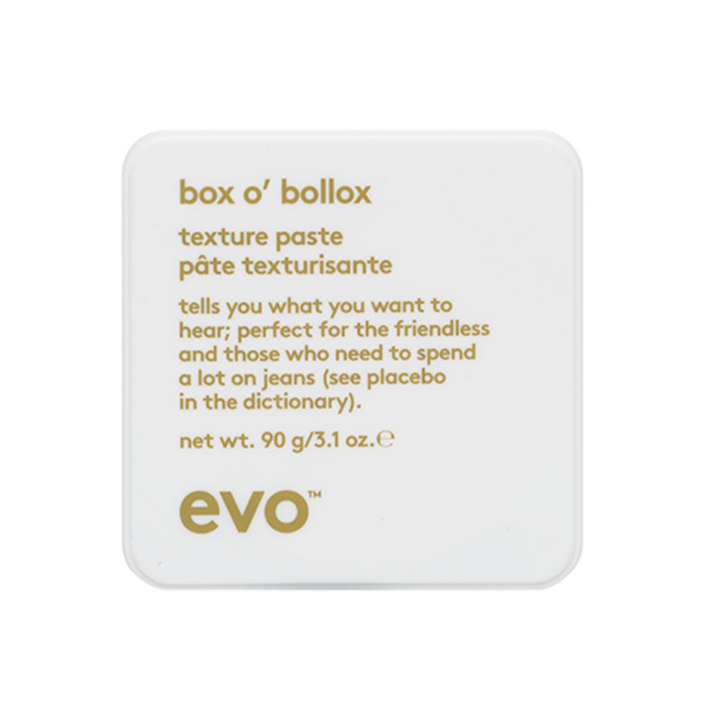 Box o' Bollox - This matte finish texture paste takes no prisoners in giving a strong long lasting hold and texture to take you through the whole day whilst still being touchable, no lego hair for our clients!