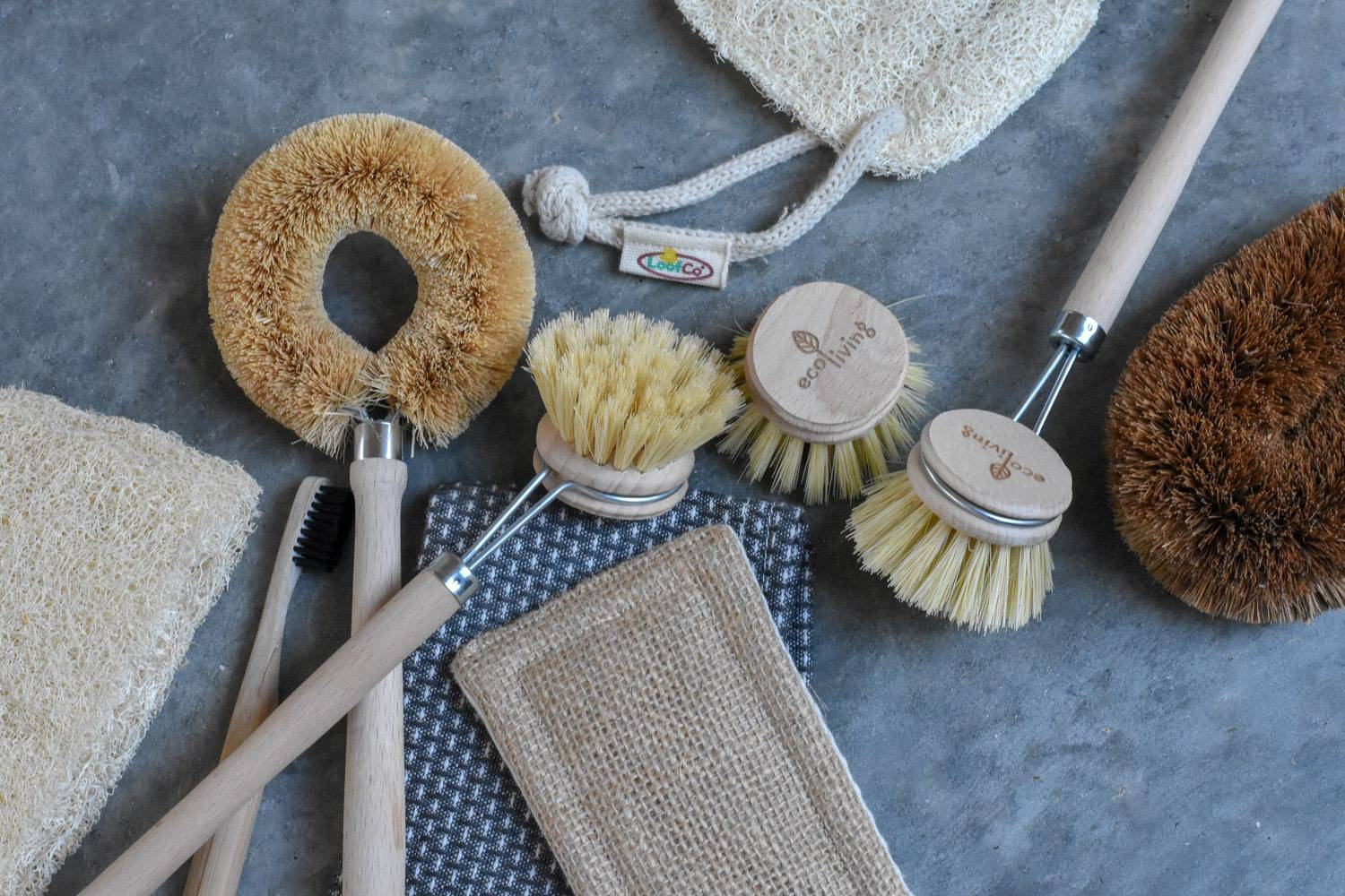 brushes & cloths - Dish brushes with replaceable heads are a win. The bristles of this Eco Living one are made of biodegradable plant fibres, so you can chuck the whole head in the compost when it's knackered, and pop a new one on.To replace scourers, look out for Loofco and Ecoconut products, both made with coconut husks and natural loofah. Non-scratchy, but still abrasive enough to get the job done.We've had a bunch of e-clothes for over five years that finally needed to be replaced. They have been brilliant, but, because they are made with a synthetic material, they shed plastic micro-fibres every time they are used I didn't want to buy them again. I've found these from Eco Egg instead. Same deal - long-lasting, and designed to kill germs with just water. But, made from wood fibres. It's the small things, right.