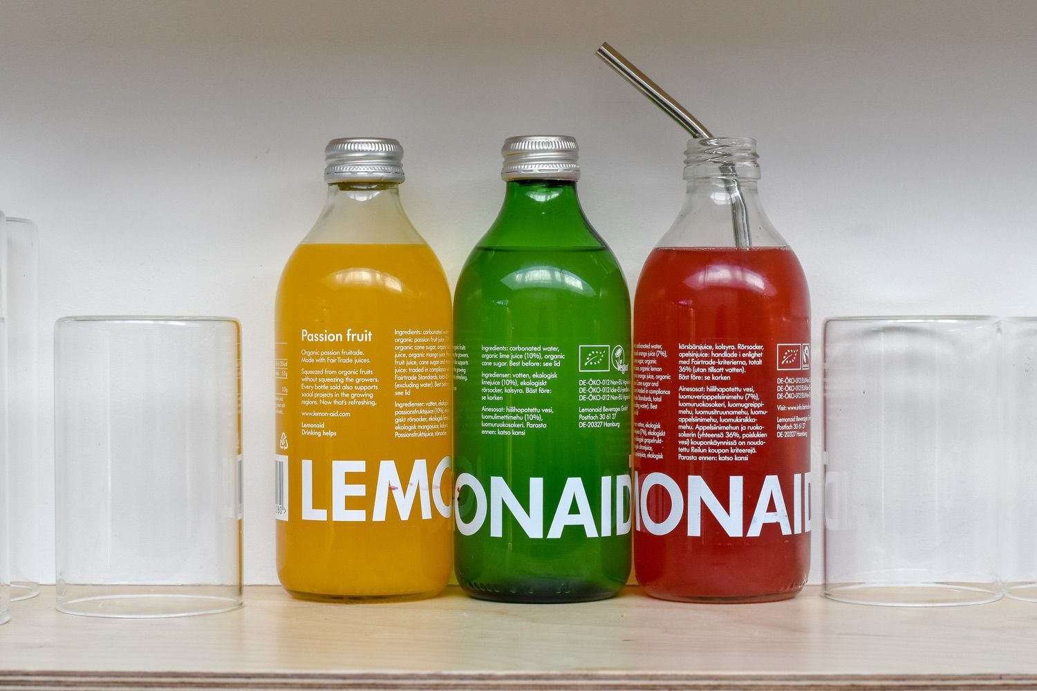 LEMONAID - There's a lot to like about this brand, beyond how nice those pops of colour look on my kitchen shelf.Lemonaid is a brand on a mission to do good in the world.Not content with supporting farmers with a commitment to Fairtrade and organic ingredients, money from every bottle purchased supports local initiatives in developing countries, working to improve social, economic and ecological structures.We need more of this in the world, don't we.
