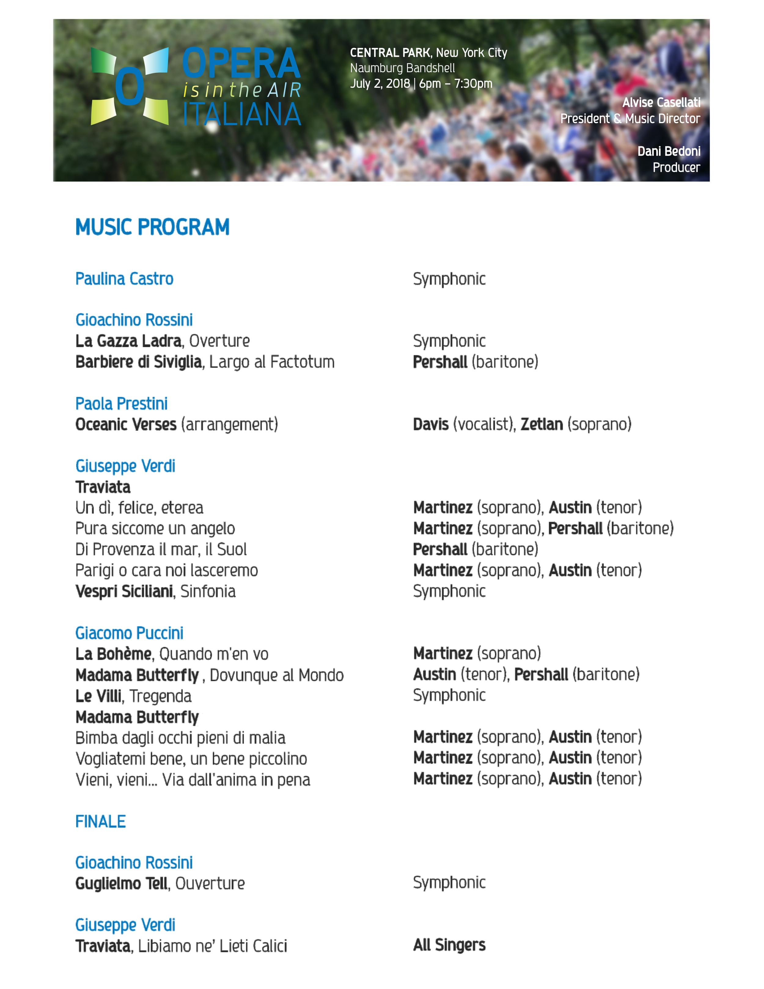 opera italiana is in the air - music program