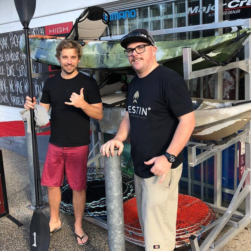 perfect for the stealthy fisho! - Brett's amped about picking up his new Everest fishing kayak package from us today !!! Drop by and check them out , they offer amazing value.
