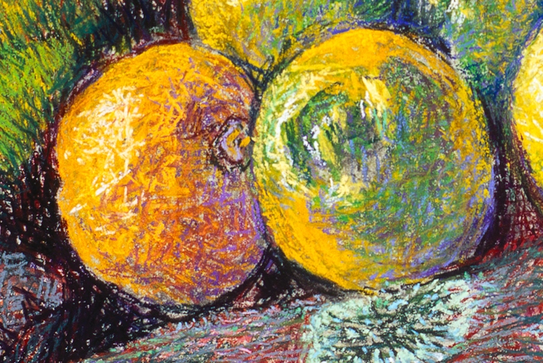 Detail of Lemons, Moss & Stone, tempera, pastel on canvas, 1999