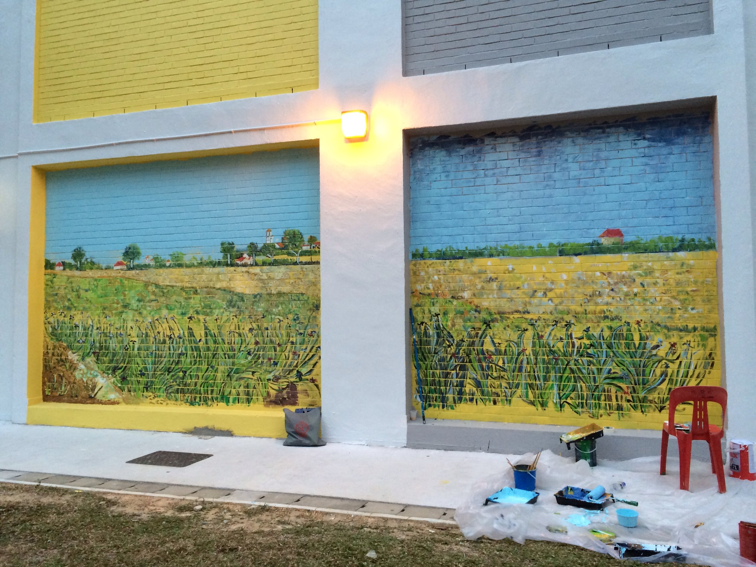 The second wall of arises after the Starry Night and it's next to the police post. I spent just two weekends with this and was pretty surprised.  My first taste of texturing on a big wall and felt the heat from the sun too.  This one was influenced by Van Gogh's irises looking at Arles.