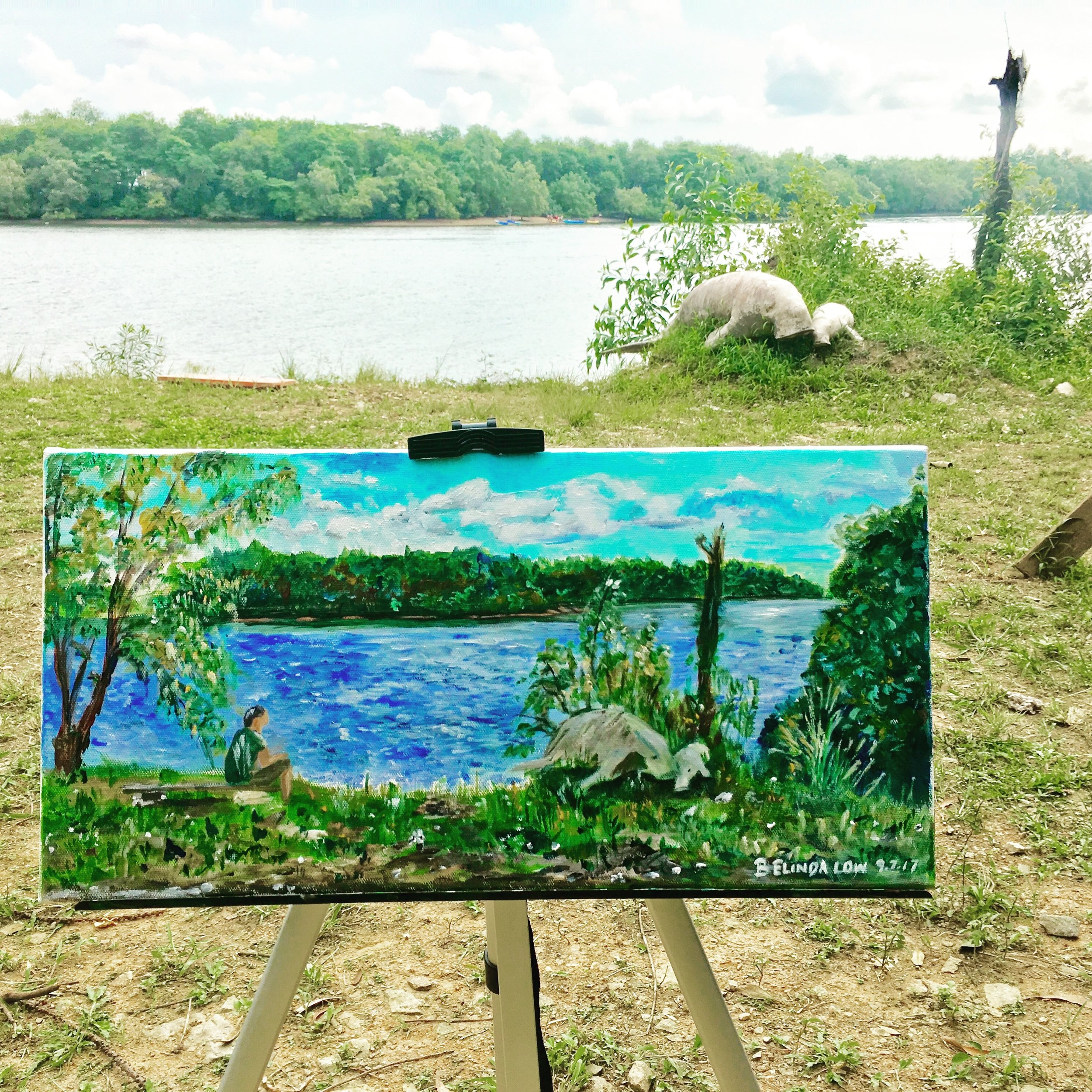 "Ubin My Home - 20"" x 16"" acrylic on canvas done en pleinair right there by the shore...It was a blissful afternoon as I sat in the sun soaking up the peacefulness around me just doing what I love most..."