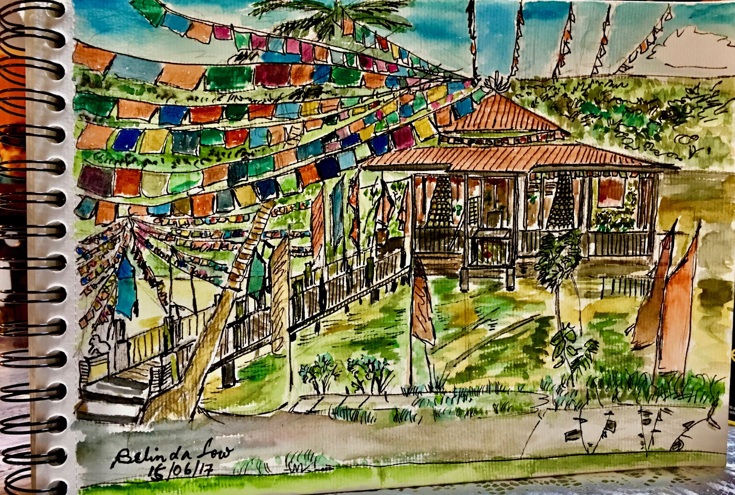 Another sketch this time of the temple which is not far from the house.  You won't notice it till you walk or cycle right in.  The flags add color to the place and it was very quiet on a weekday.  Thats the beauty and lure of Ubin - once you go there, you want to return...