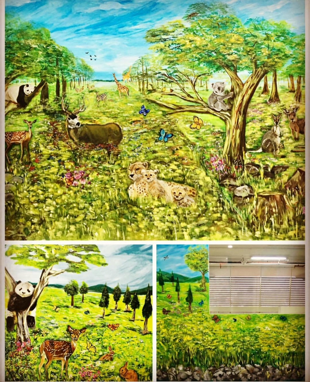 Yang Language School, The GrandStand, Bukit Timah. This was done in May 2016 and is a commissioned work for a school that specialises in the Chinese Language. It took me two weekends or 4 full days to finish this. It was the first time painting animals and for a school for me. From bottom left: first wall on the left as you walk into the room. Top - main longer wall facing you as you walk in, and bottom right: the middle wall where the bookshelf will cover the rocks in the middle under the window.