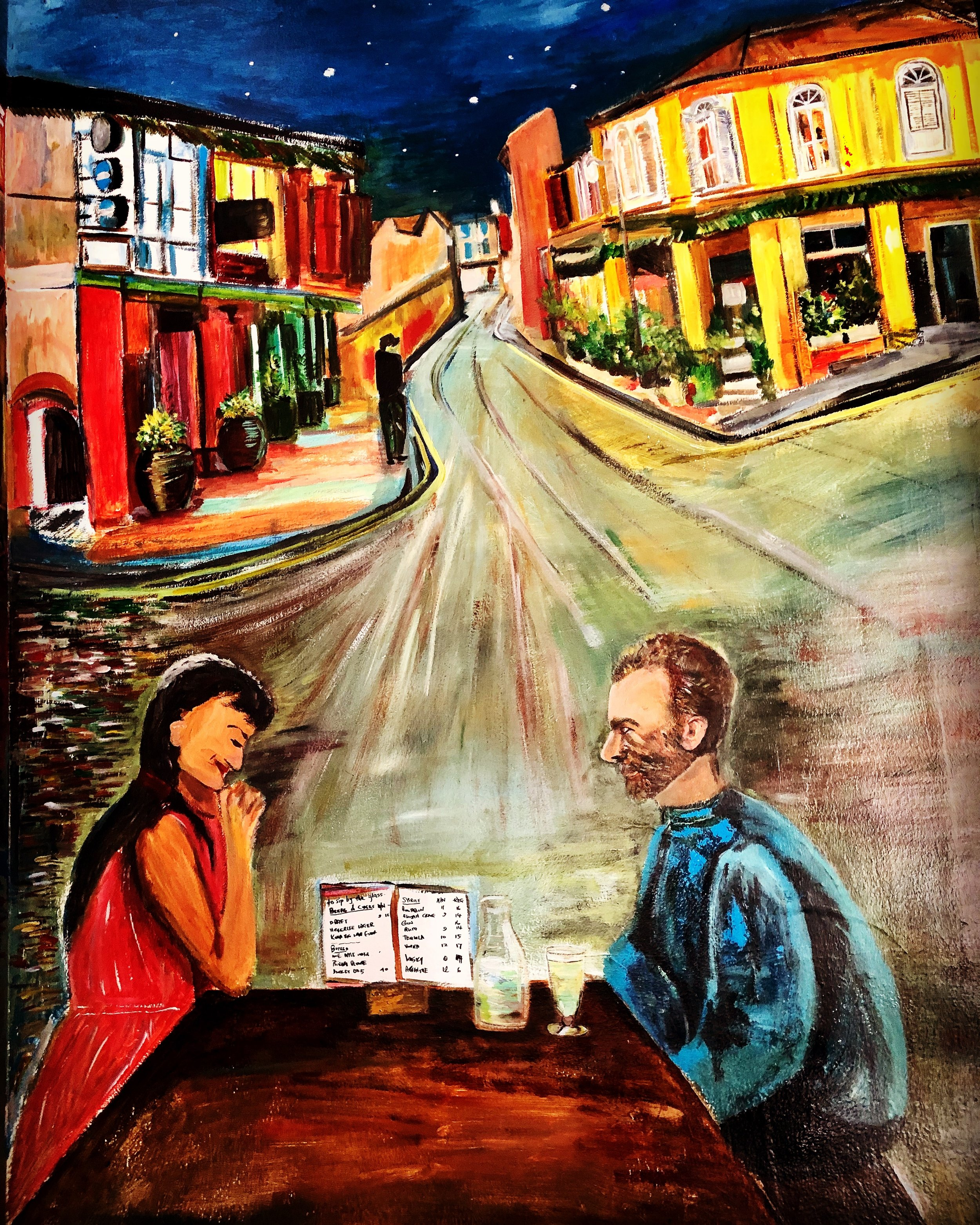 So this is at the junction of Club Street. Moving from the main road at the entrance, we see this couple by the side chatting away. Can you recognize the man? He is looking intently at this Chinese girl and is someone who didn't have any luck at all with women! so maybe a Chinese girl might be more suitable for him…:-) I wanted to paint happy images and pictures that bring hope for either the viewer or the people drawn based on their background. The stars were