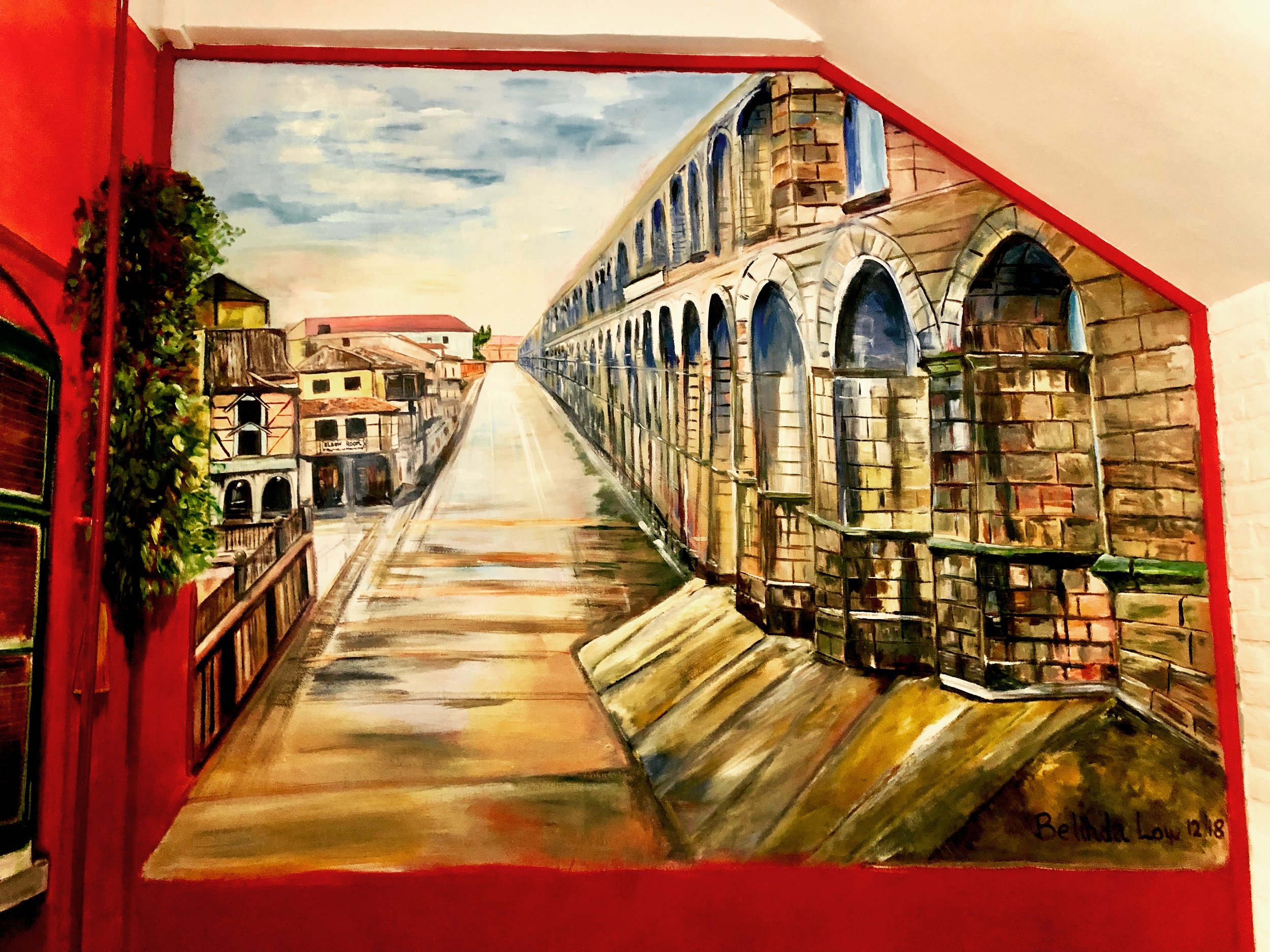 The finished product… I added Elbow Room in the distance for one of the buildings on the left…