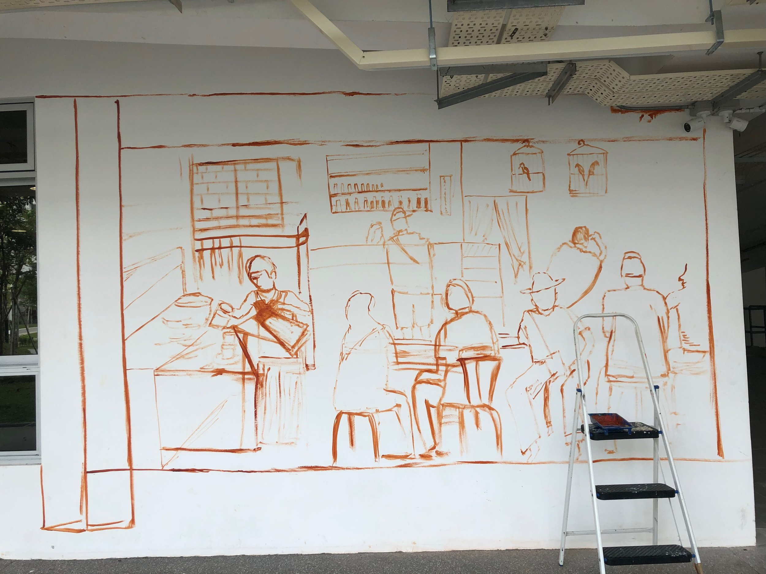 The initial sketch by free-hand this time on the wall. No outlining cos too much time wasted. Just a rough idea will suffice!