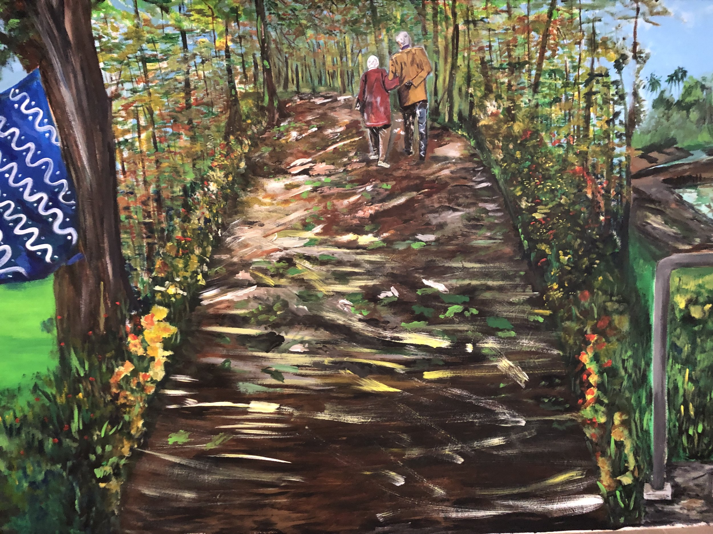 The images flow on to the next showing a loving couple walking together in their autumn years.