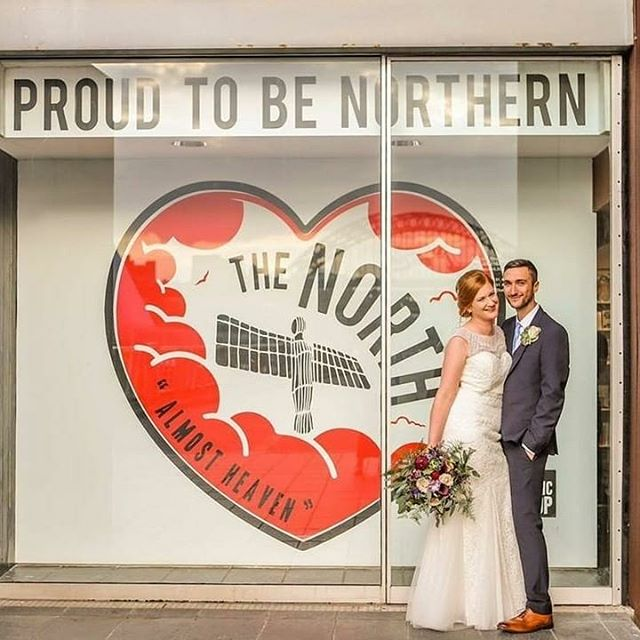 We're so proud to be a North East venue.  Our @balticshop window says it all. Photography by @mandycharlton  #bridesupnorth #northeastbride #groom #justmarried #geordiewedding #geordiebride #summerwedding #realwedding #weddingday #weddingflowers #weddingreception #balticbride #weddingsatbaltic #balticwedding