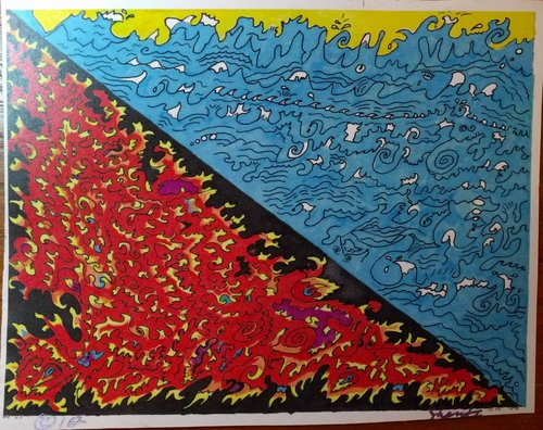 """""""H2O/Fire"""" by artist Shanti, purchased by Anton in Seattle in 2010 - an example of the skills found among our vulnerable neighbors"""