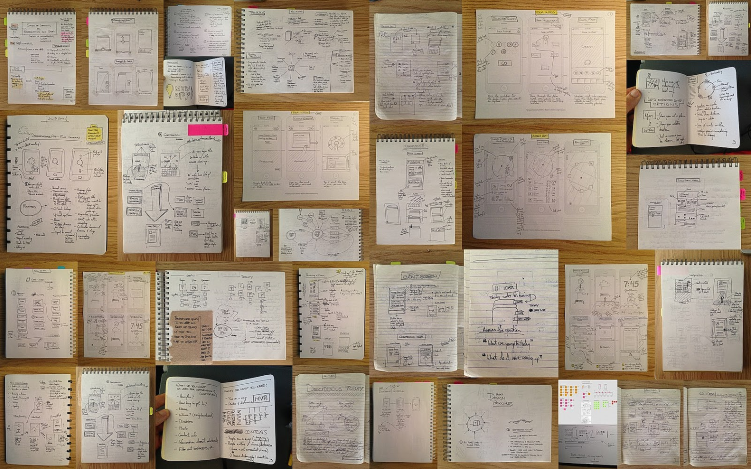 These are the doodles and sketches I turned into a portfolio when I was searching for my first PM job.