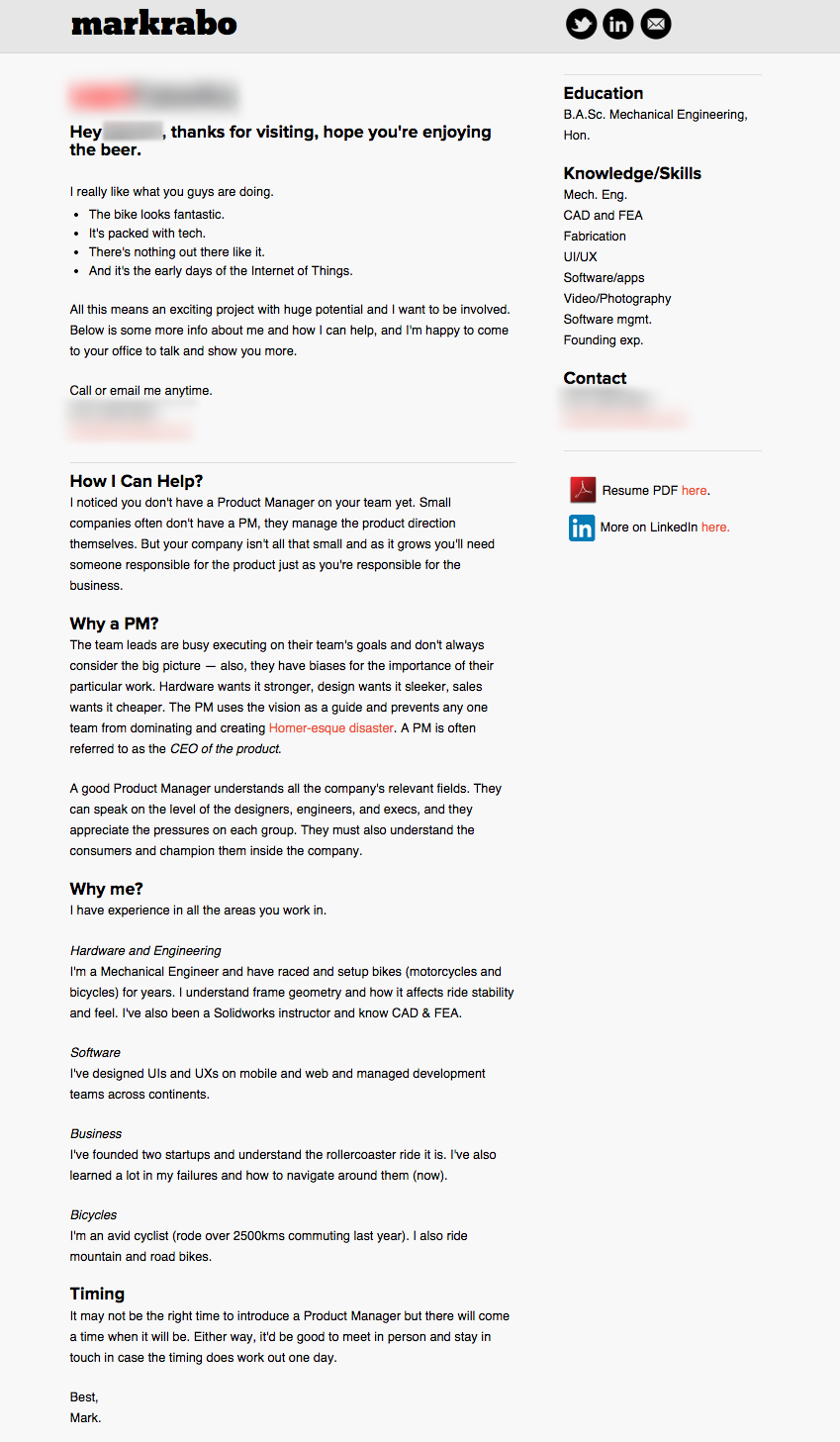 The custom website I coded that went along with the beer. It had my detailed pitch to them.