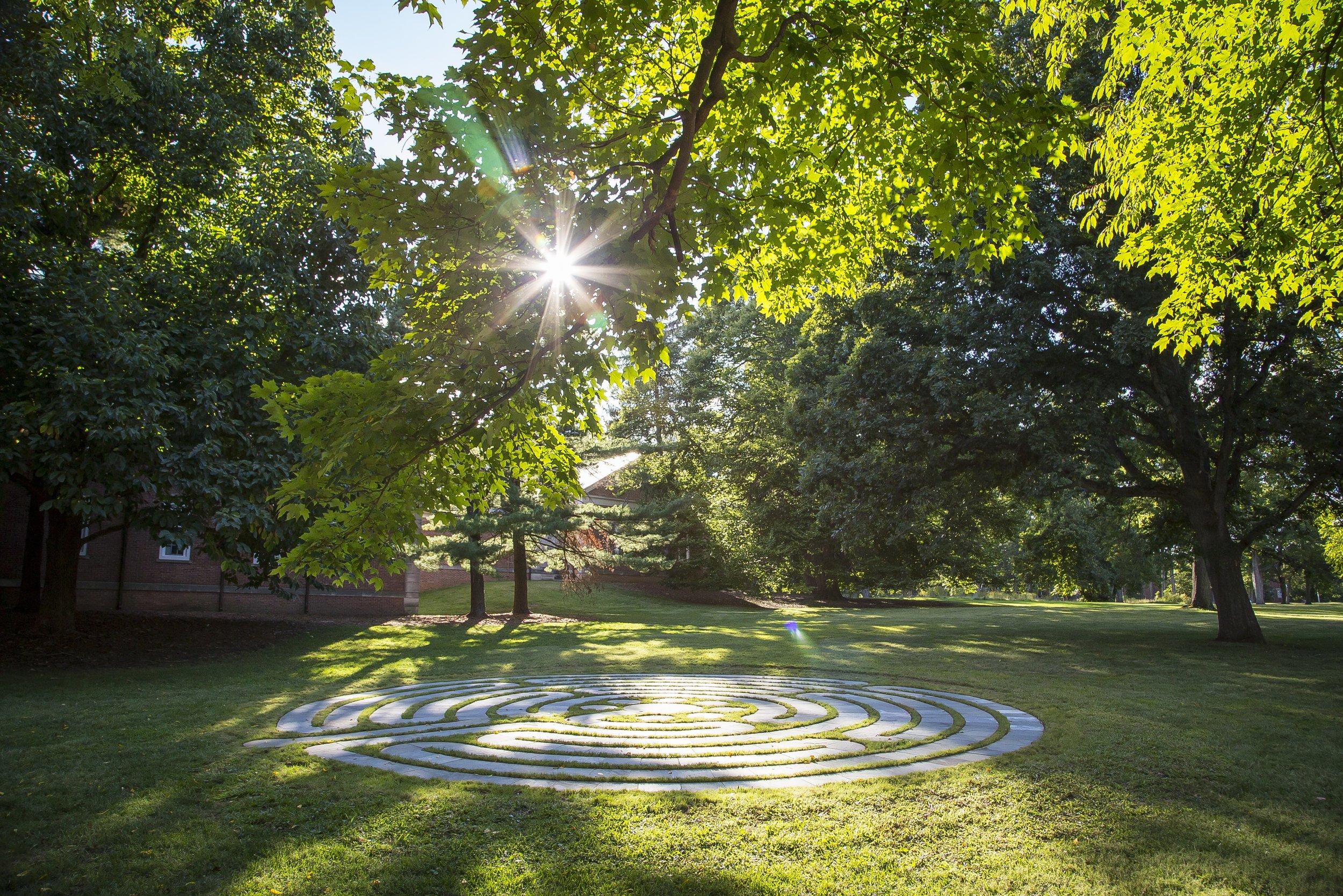 Labyrinth , Drew University, Bluestone, 42 ft/dia, 2015, photography by Lynne DeLade