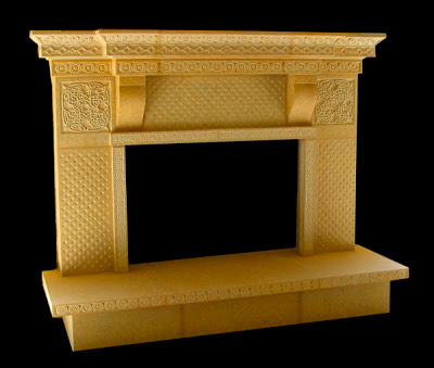 Celtic Fireplace, Minnesota Kasota Limestone, 9' x 6' x 3',                Private Residence, Warren, NJ 2005