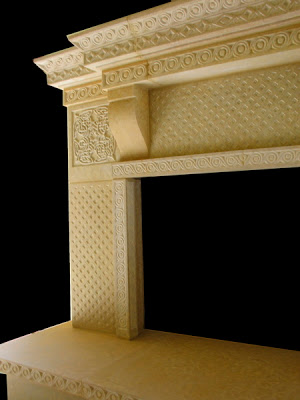 Detail: Celtic Fireplace, Minnesota Kasota Limestone, 9' x 6' x 3', Private Residence, Warren, NJ 2005