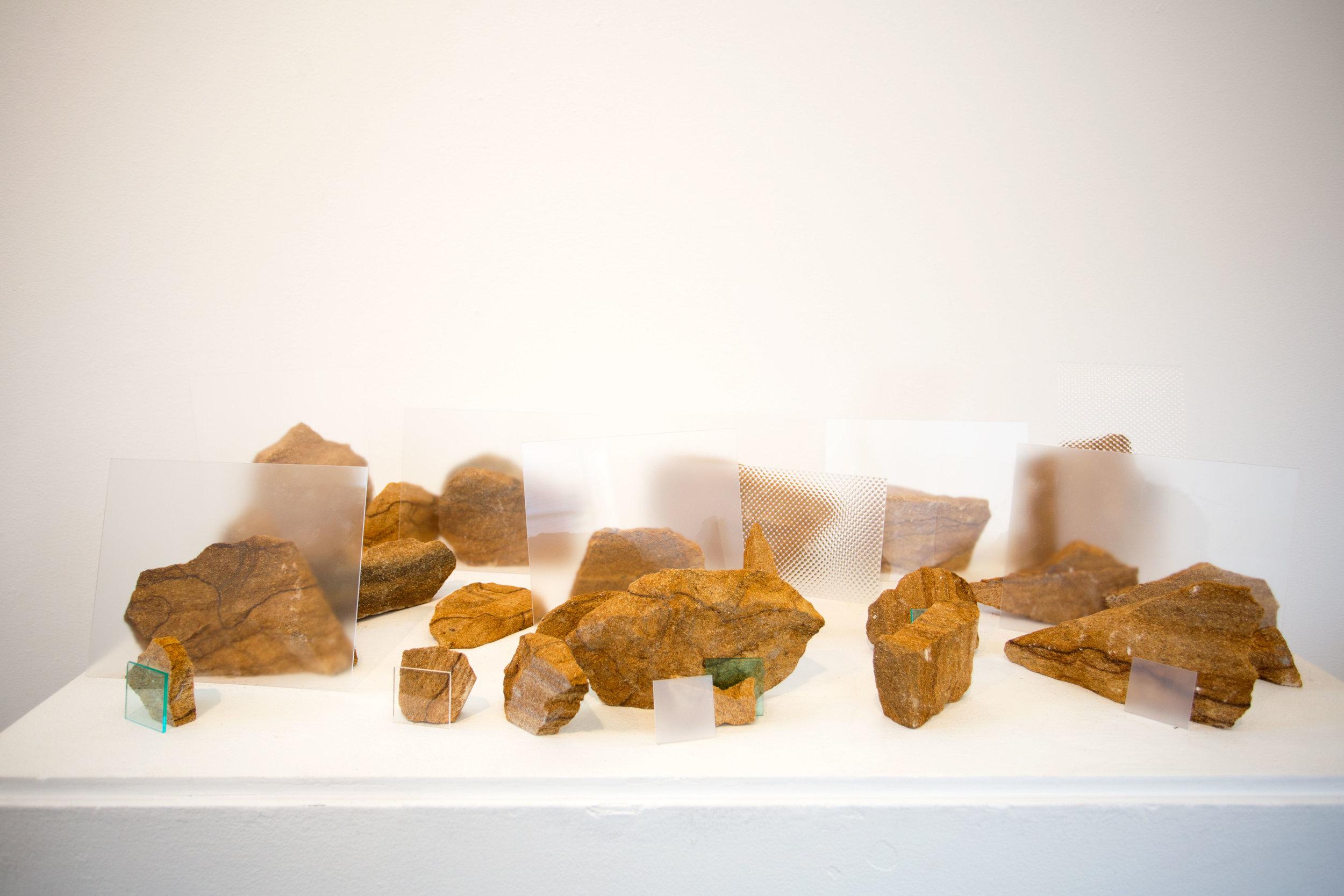 "Landscape I,  Ohio Sandstone and Plexiglass, 48"" x 30"" x 12"", 2016"