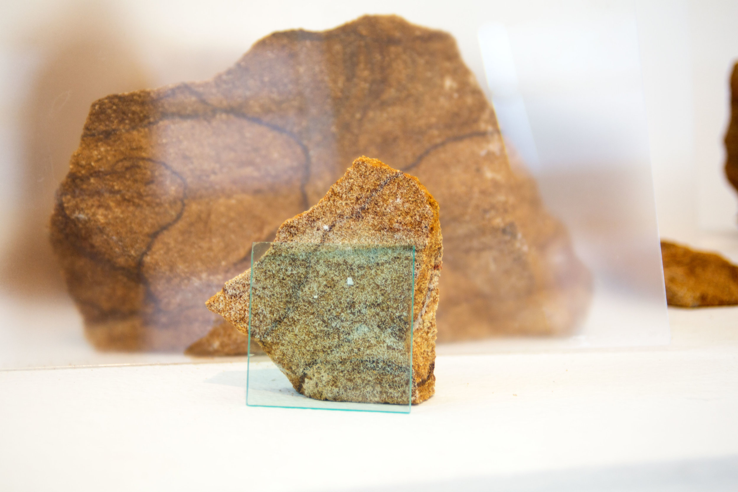 Detail:  Landscape I,  Ohio Sandstone and Plexiglass, 2016