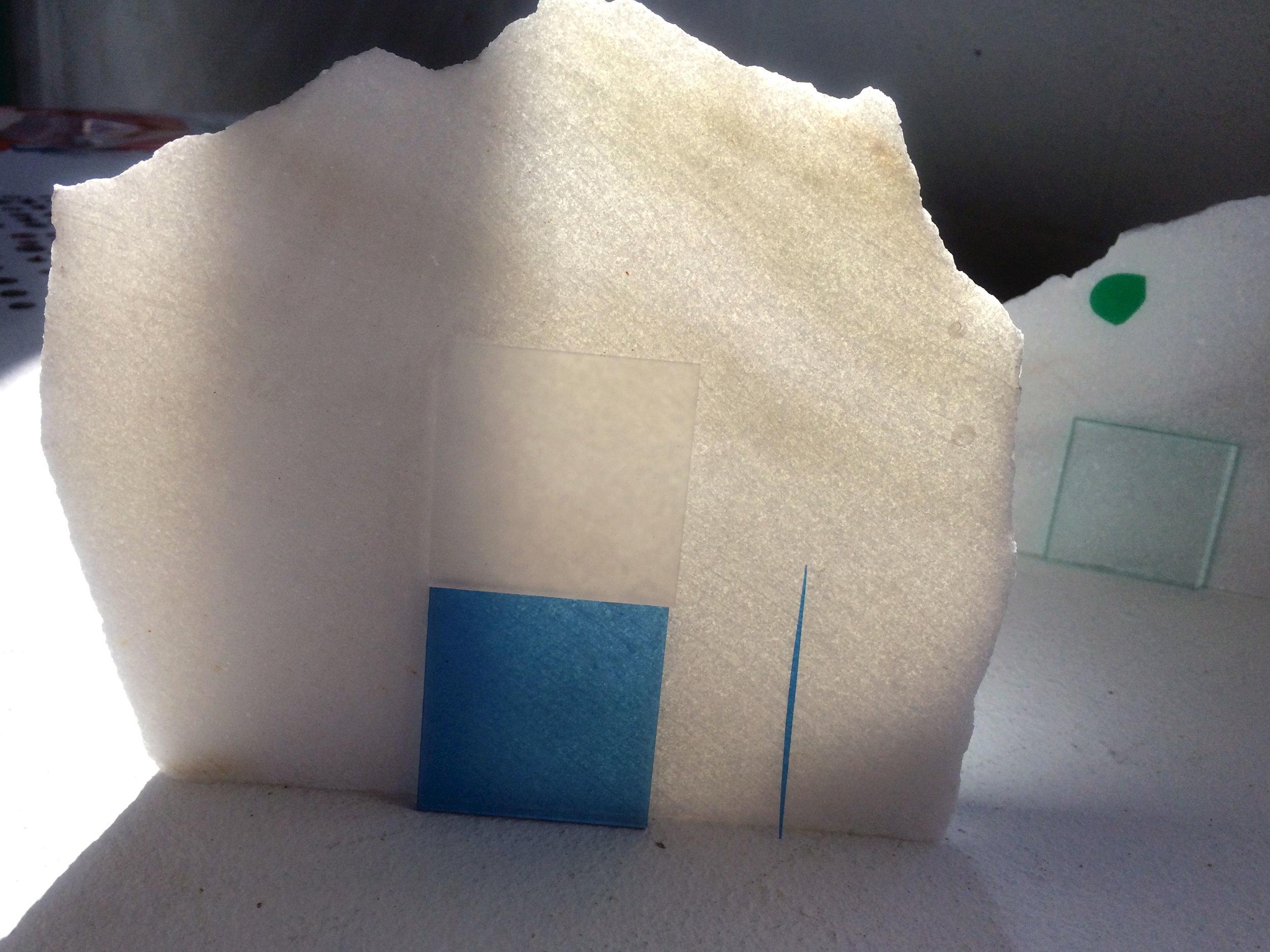 Detail:  Landscape II,  Danby Marble, Plexiglass and Foil, 2016