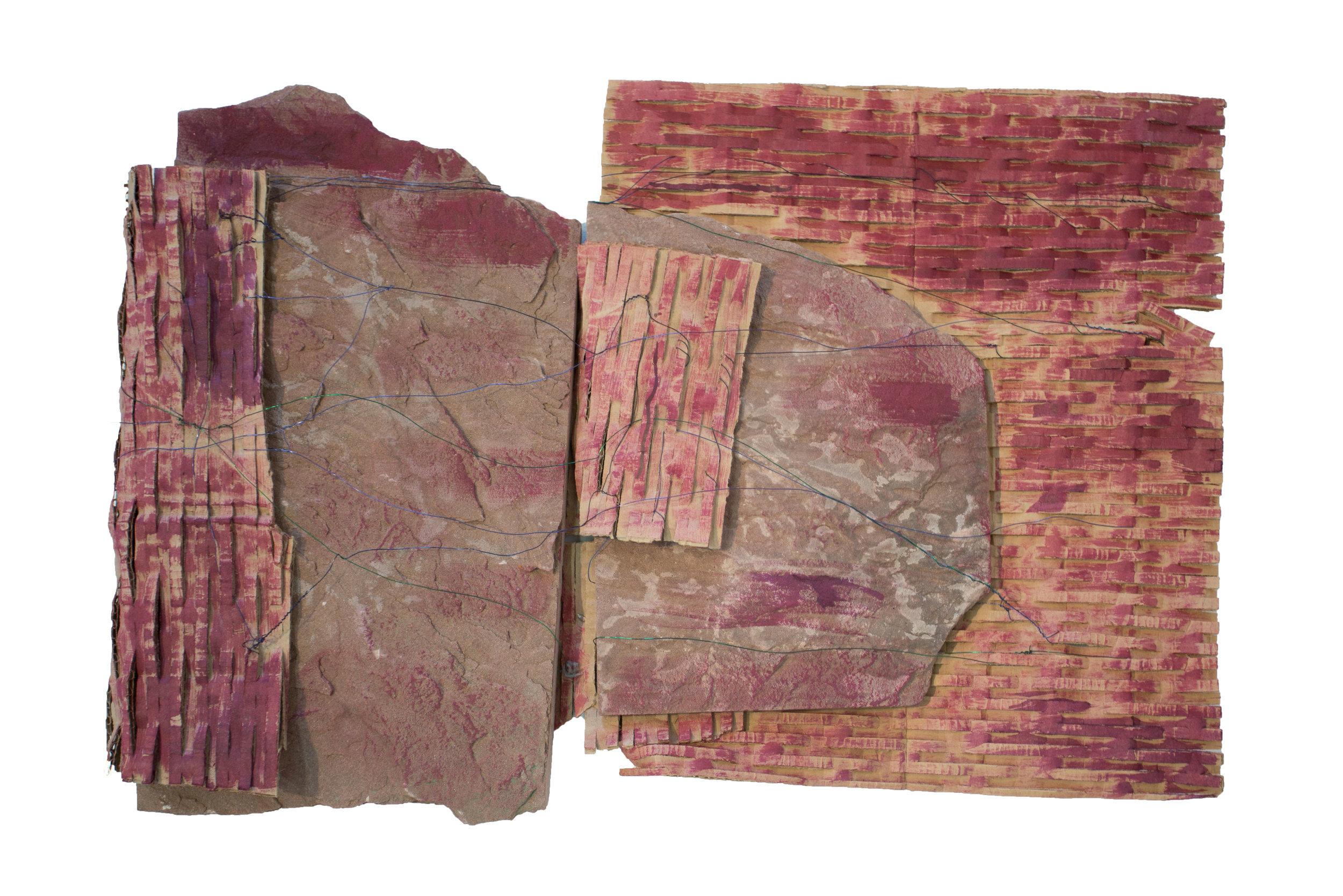 "Roadmap,  Red Sandstone, wire, cardboard, acrylic paint, 18"" x 12""x 4"", 2015"