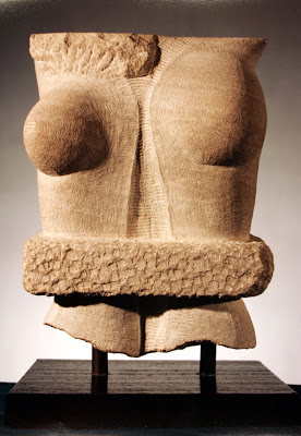 "Genetic Engineering , Indiana Limestone,         28"" x 14"" x 4"", 1992"