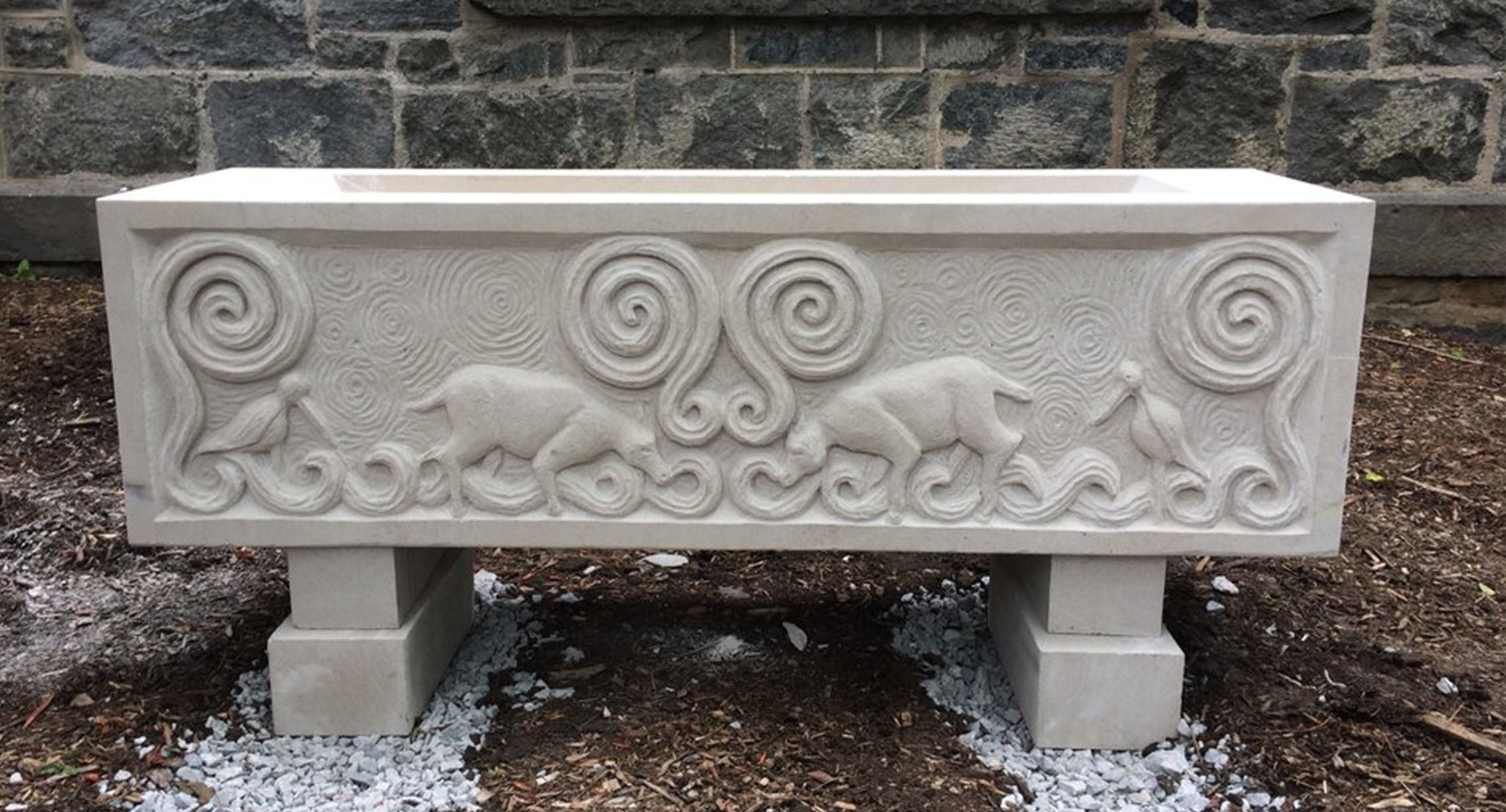 "Medieval Water Basin, Indiana Limestone, 54"" x 18"" x 14"", Drew University, Madison NJ, 2017"