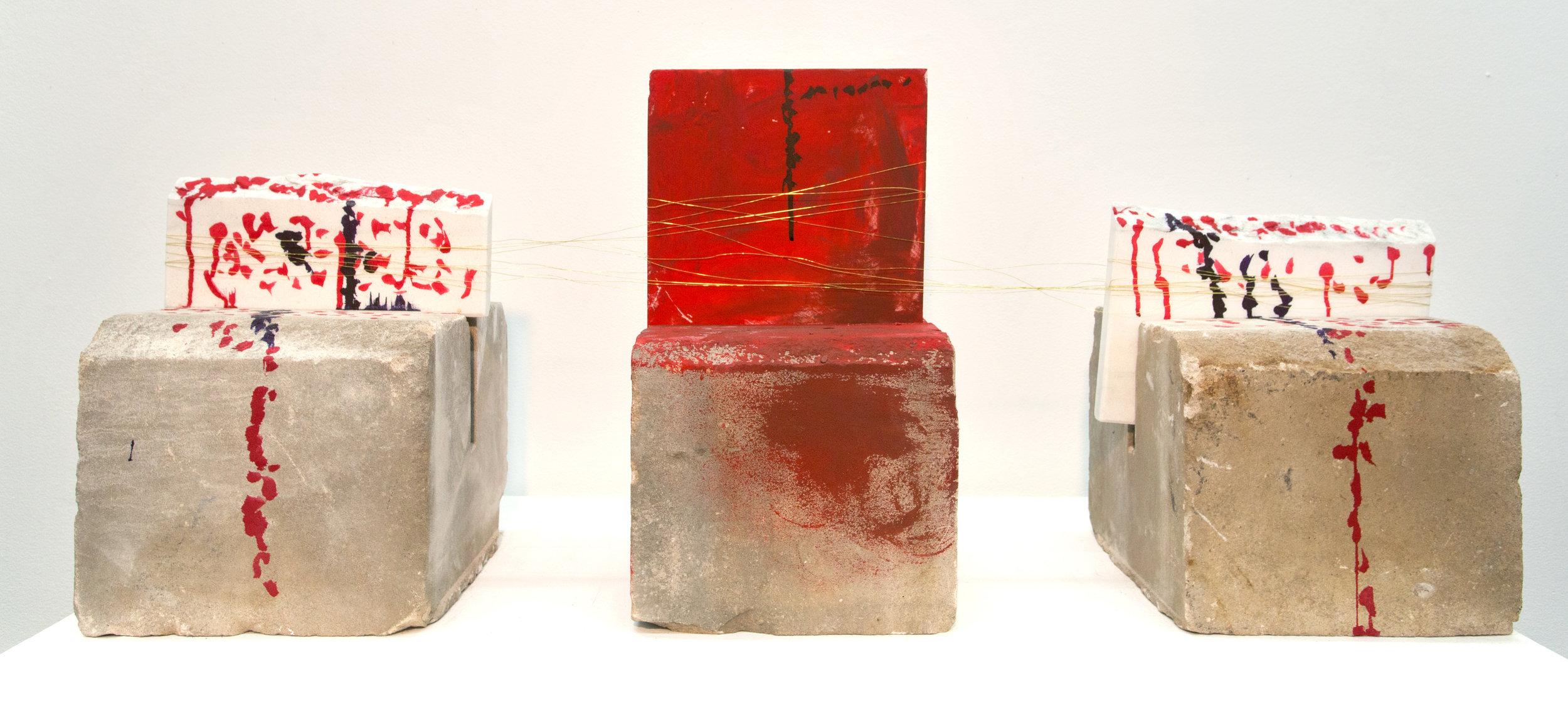 Communications,  Indiana Limestone, Marble, wire, acrylic paint, 2015
